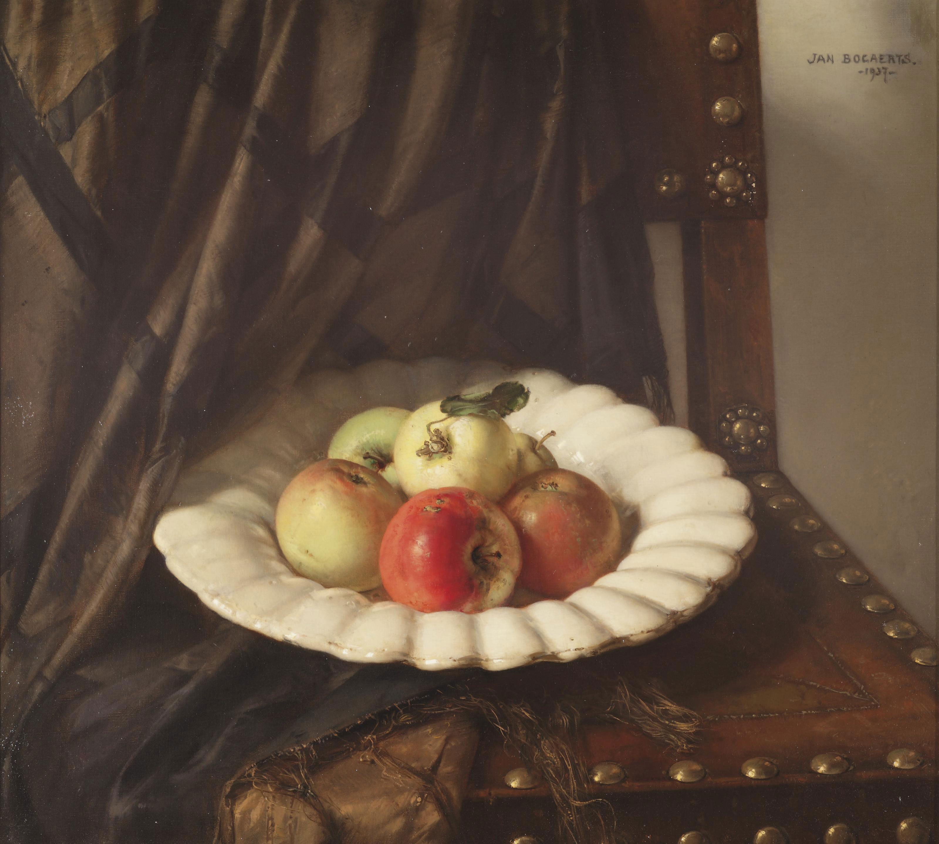 A still life with apples on a white Delft gadrooned charge