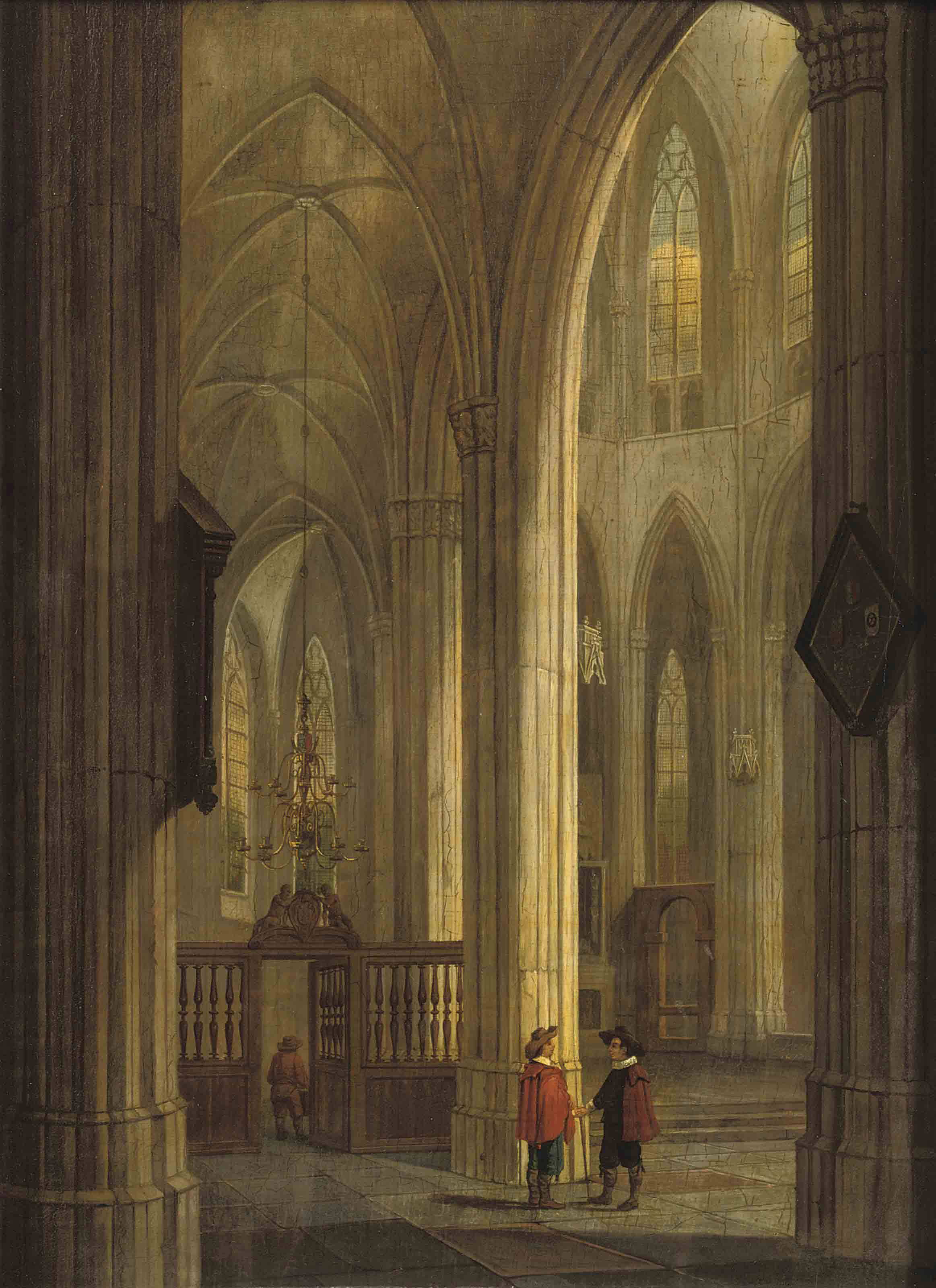 A church interior with figures conversing