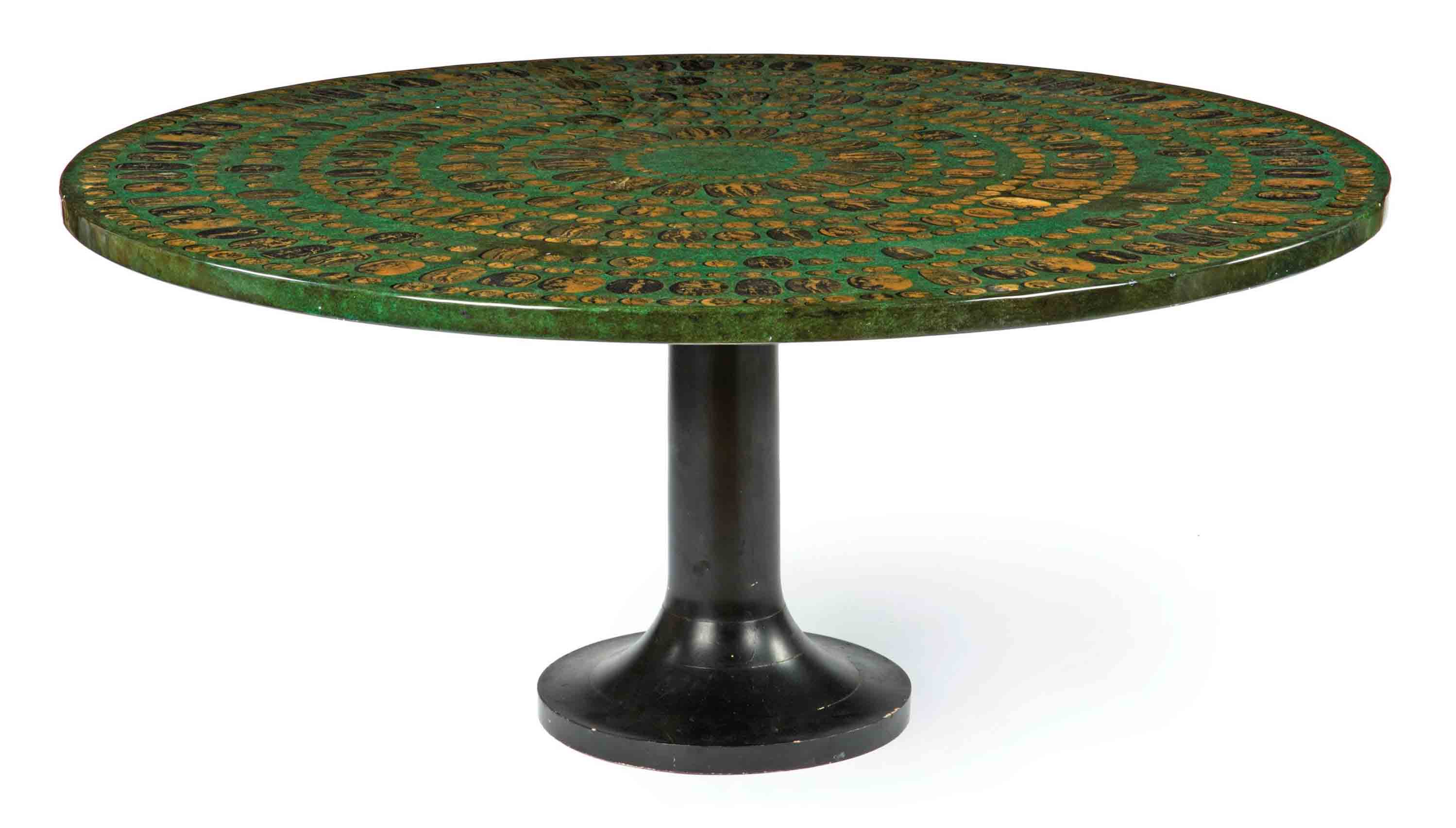 AN ITALIAN GREEN MARBLEISED, EBONISED AND TRANSFER-PRINTED WOOD CENTRE TABLE