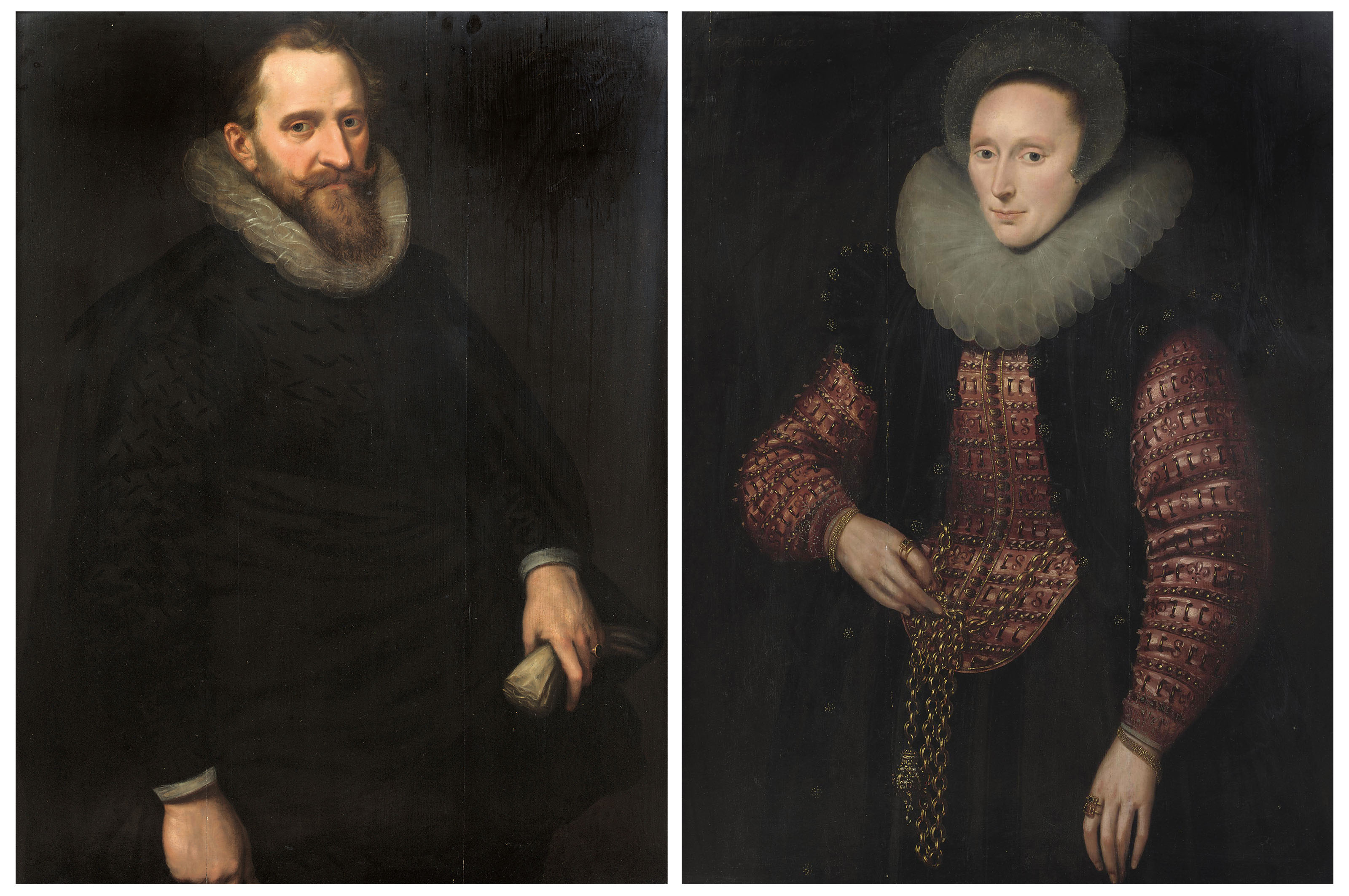 Portrait of a gentleman, three-quarter-length, in a black costume with white ruff, holding a pair of gloves; and Portrait of a lady, three-quarter-length, in a black and red embroidered dress and white ruff, a gold chain with a pomander around her waist
