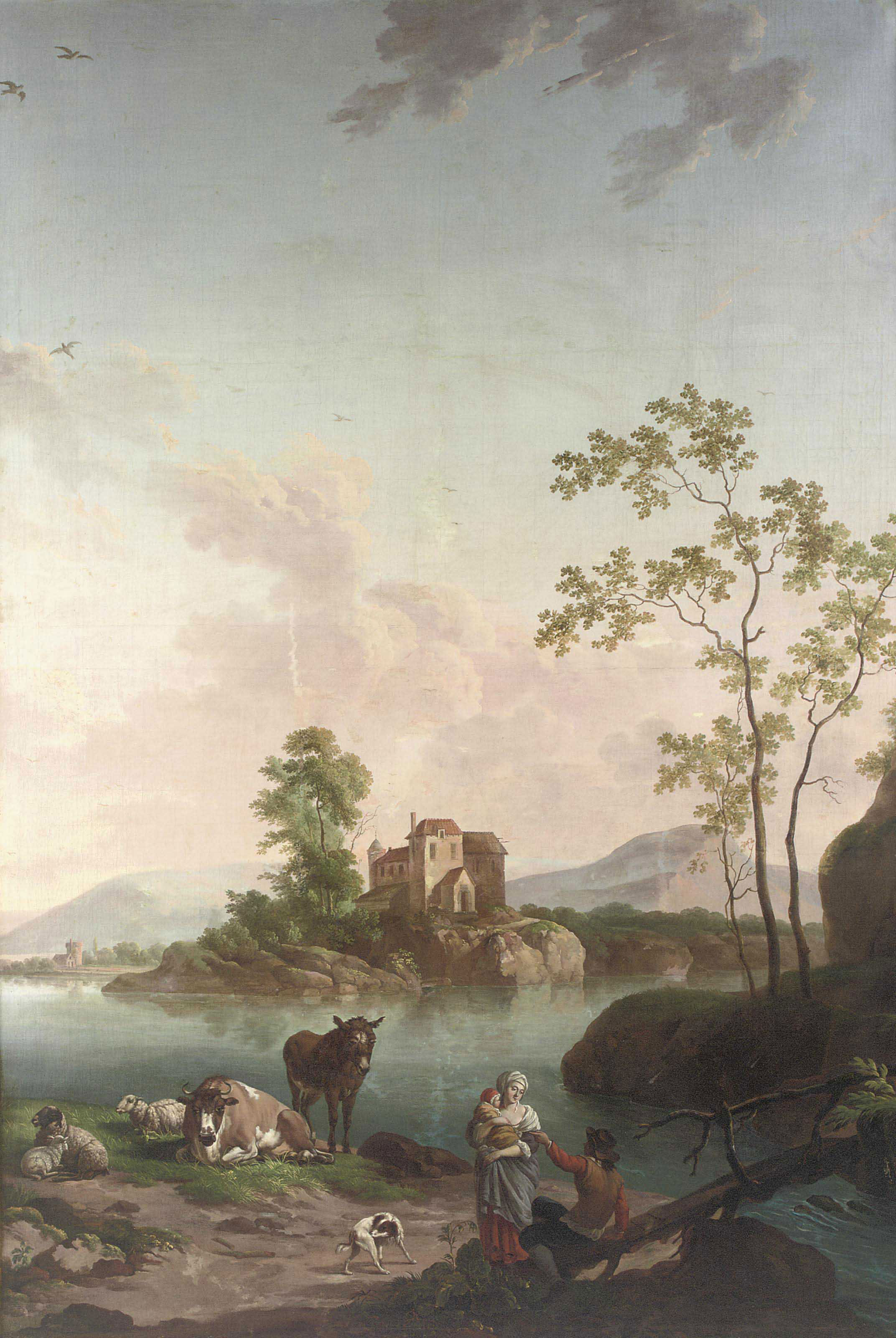 A river landscape with figures and cattle near a bridge, a house on the distant river bank