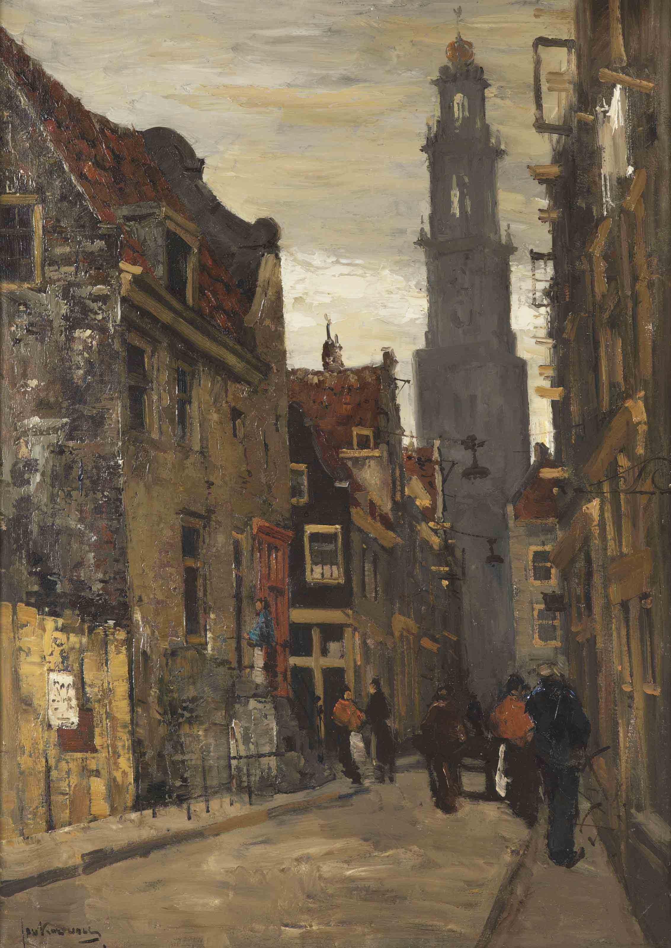A busy street, the Westertoren beyond, Amsterdam
