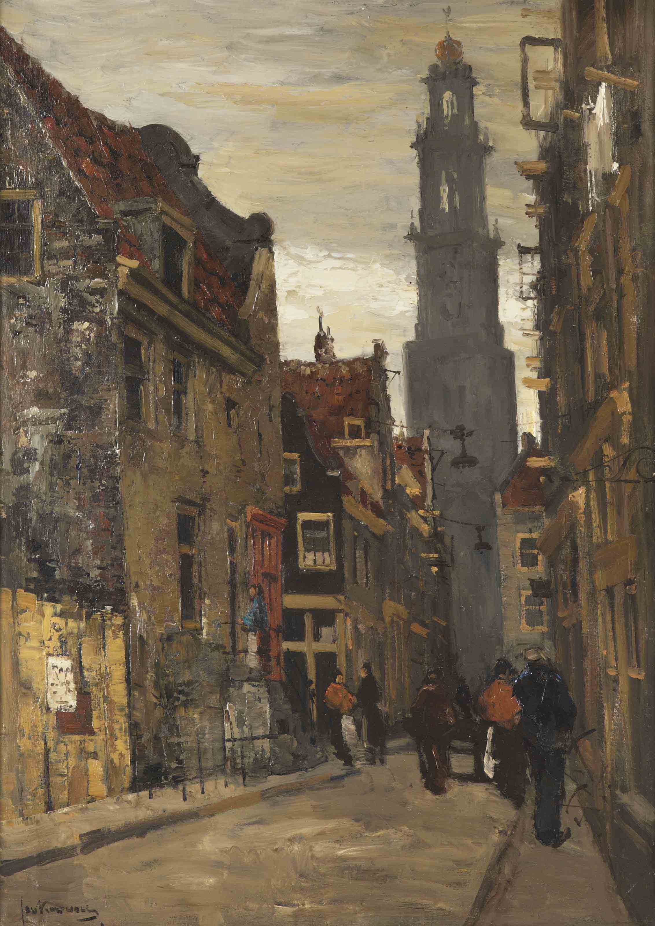 A busy street, the Westertoren beyond, Amsterdam
