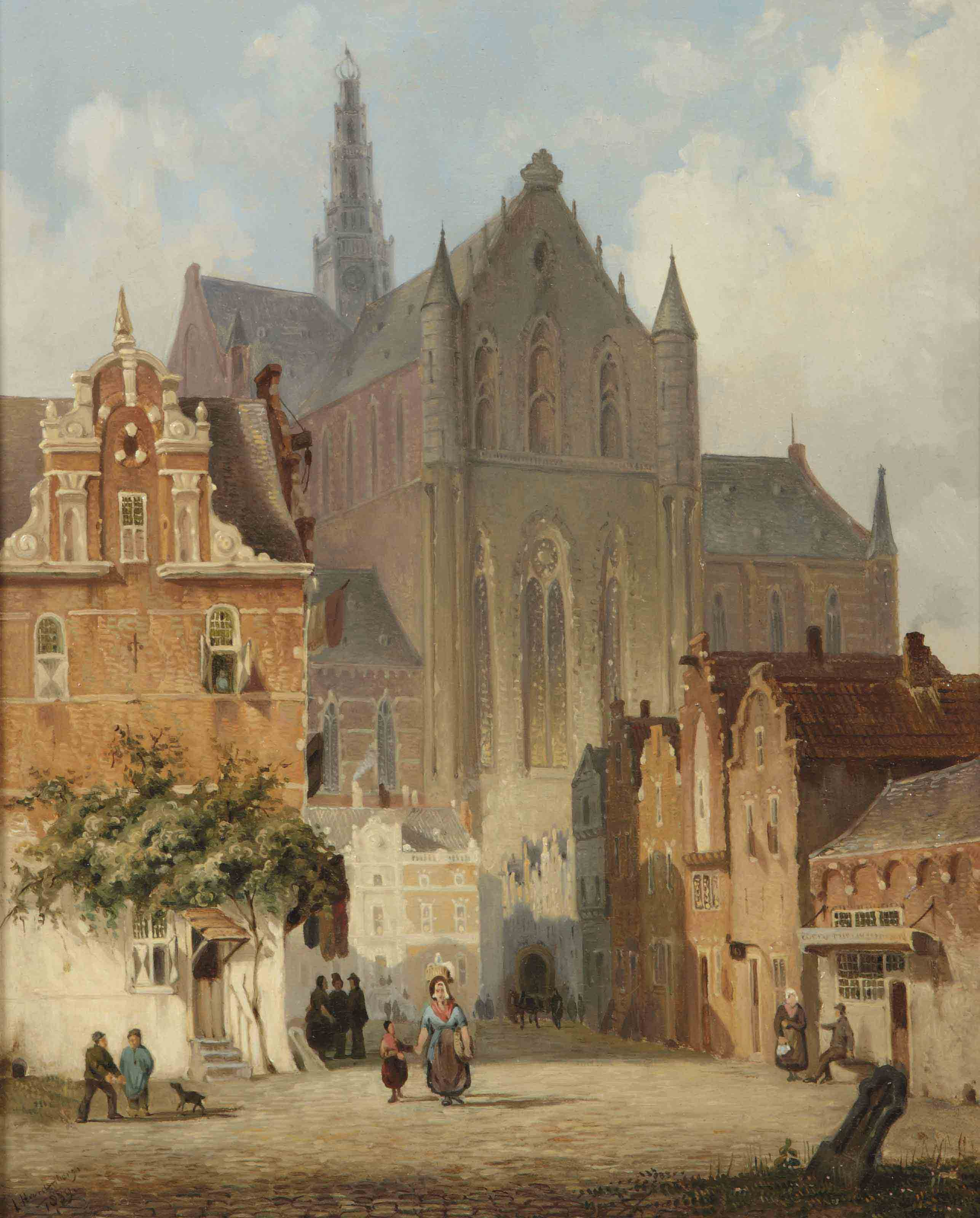 Figures on the Grote Markt in Haarlem with the Saint Bavo church