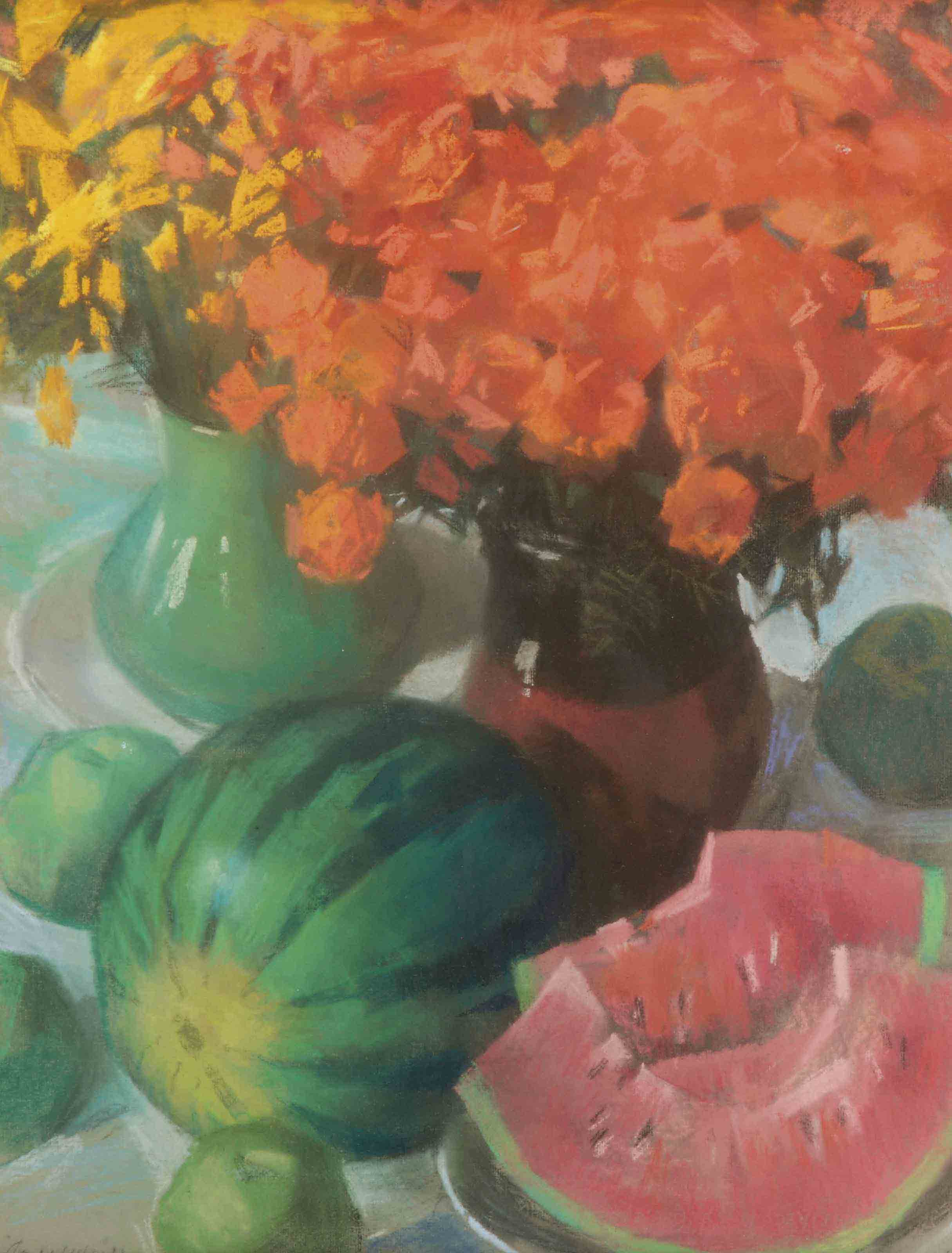 A still life with watermelons and yellow and orange flowers