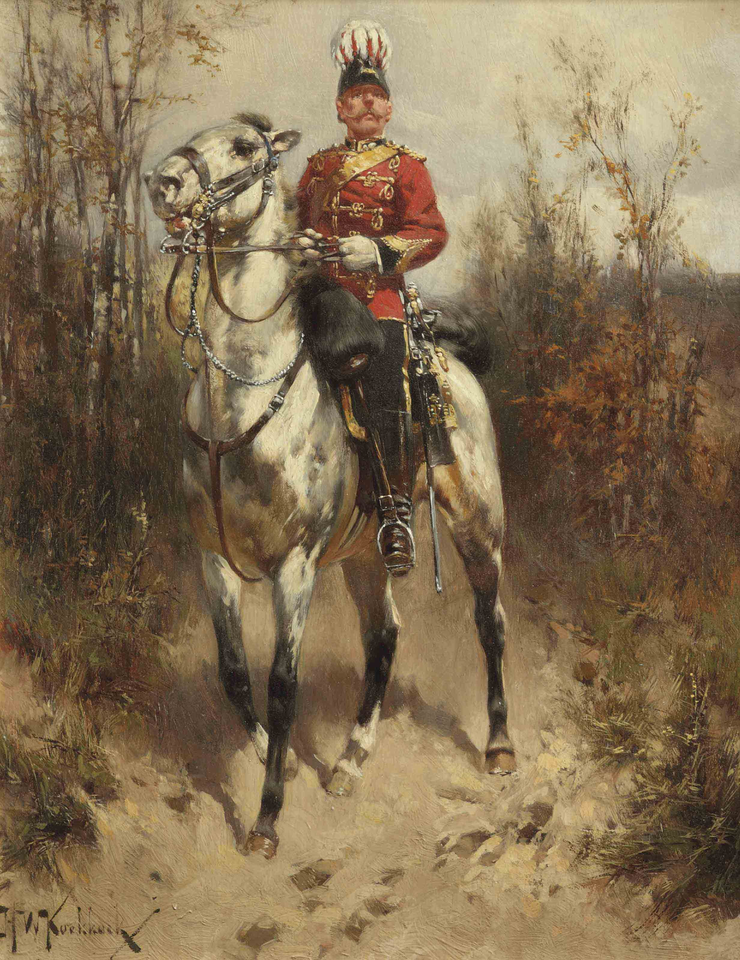 A British hussar general on horseback