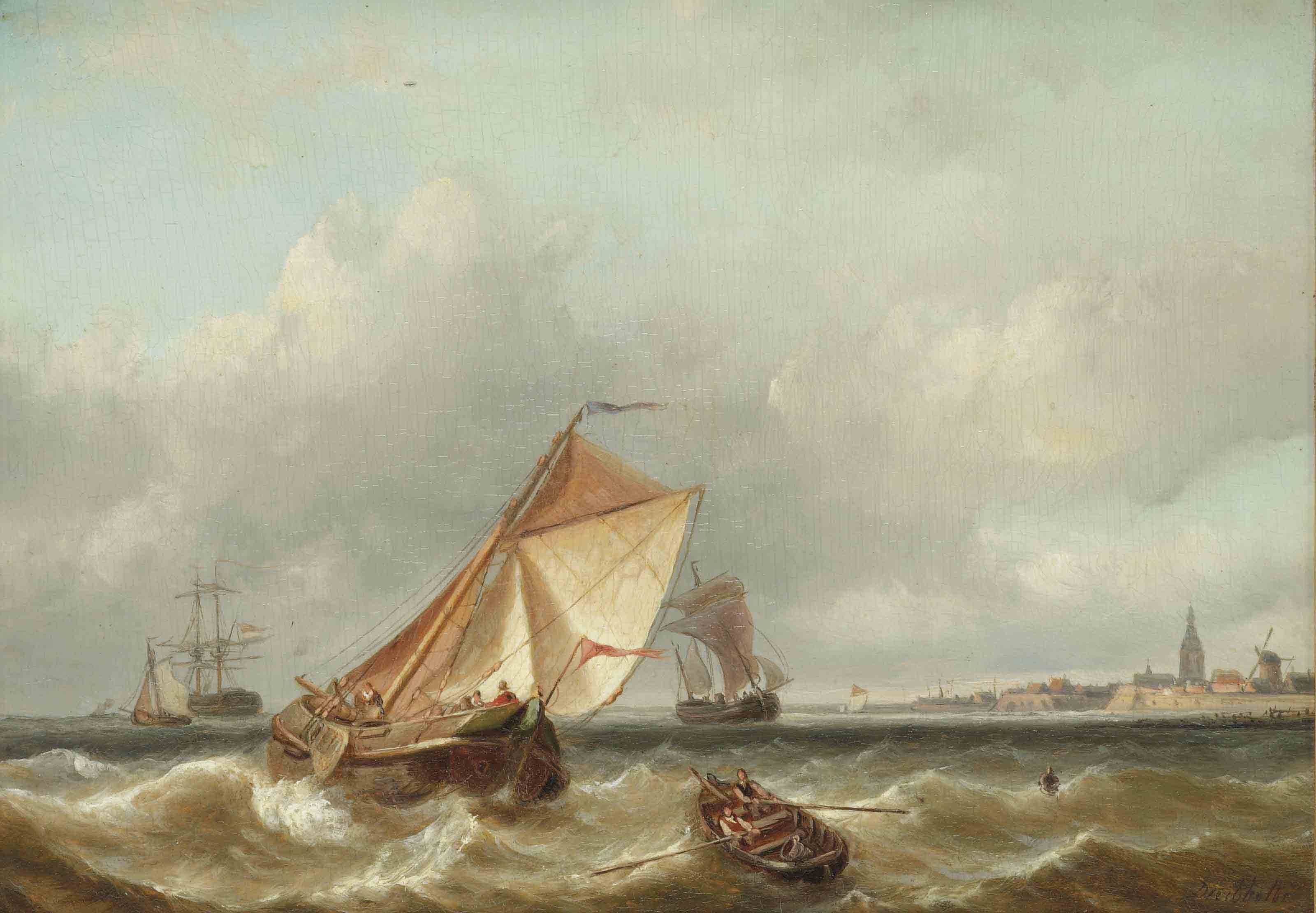 A seascape with a town in the distance