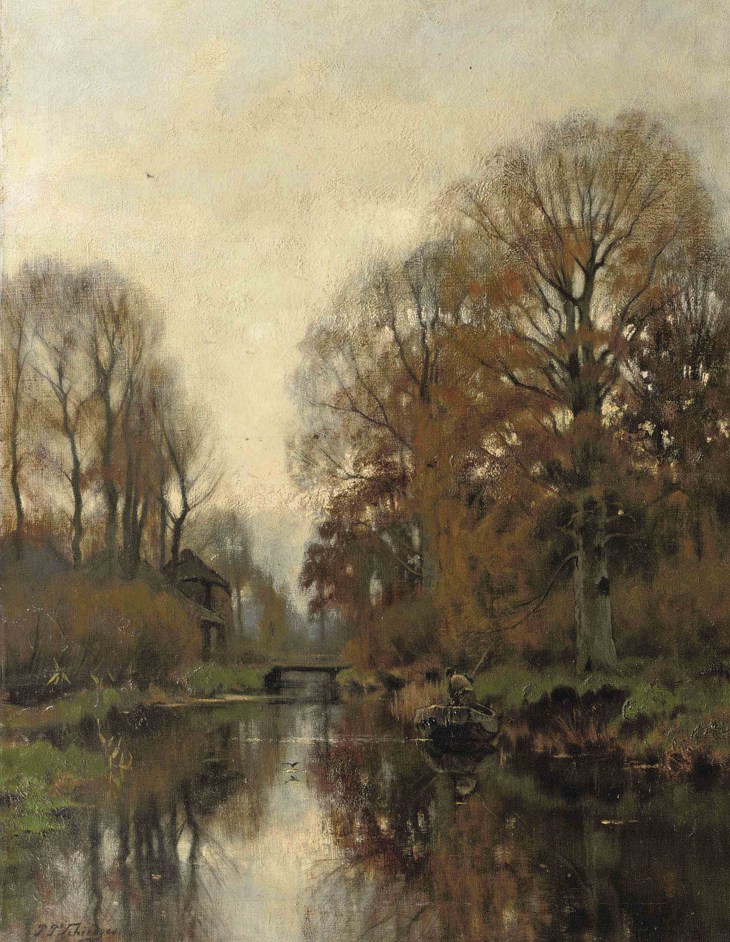 In a rowing boat in autumn