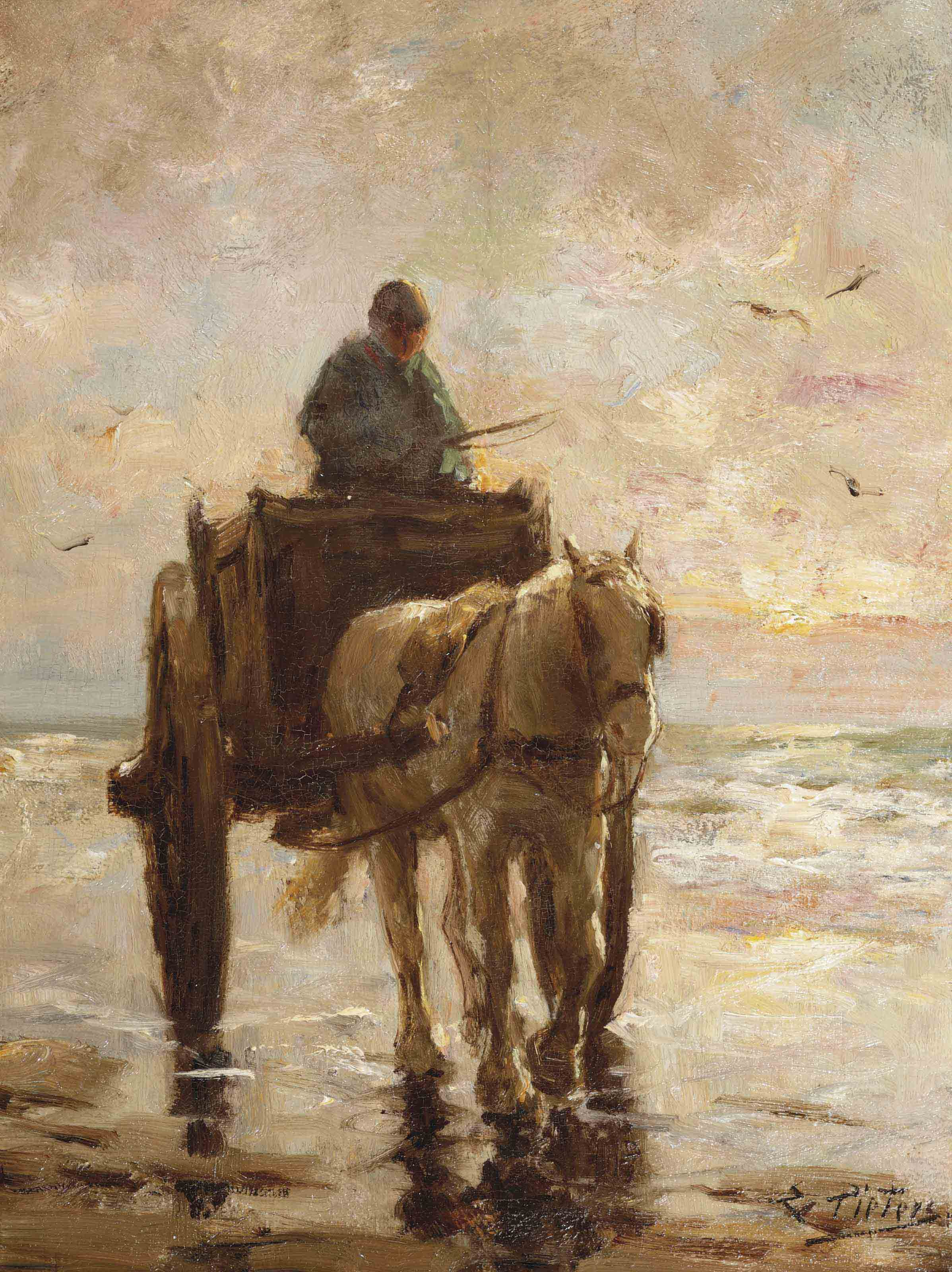 A shell-fisher and his horse at sunset