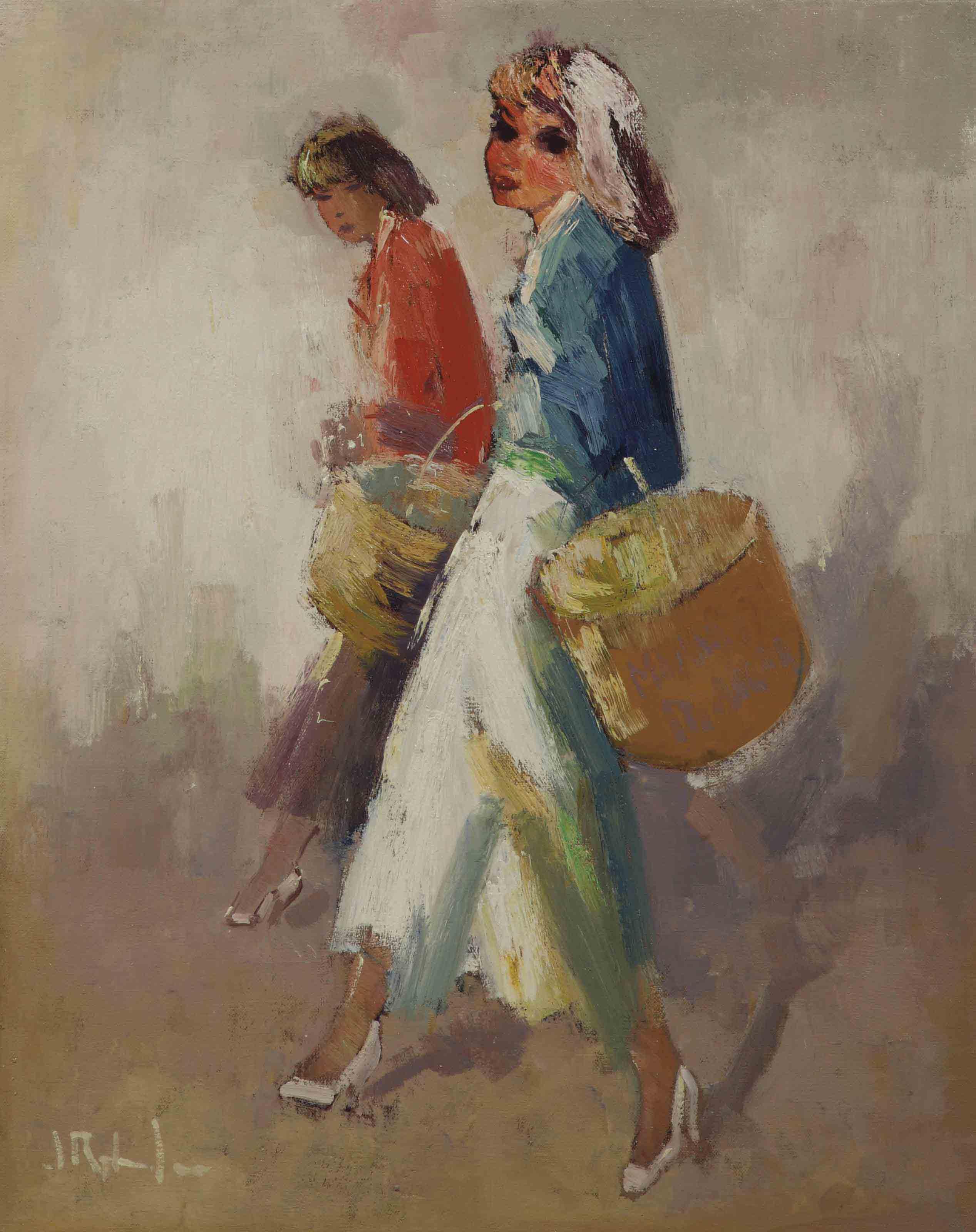 Elegant ladies with baskets