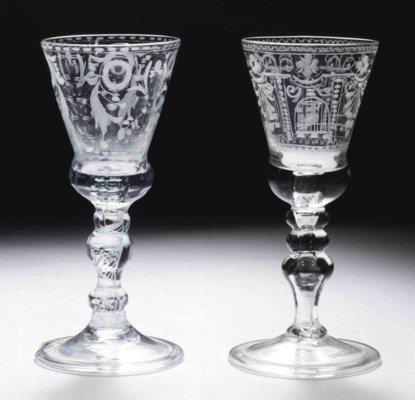 two dutch engraved glass goblets and a facetted glass goblet 18th century christie 39 s. Black Bedroom Furniture Sets. Home Design Ideas