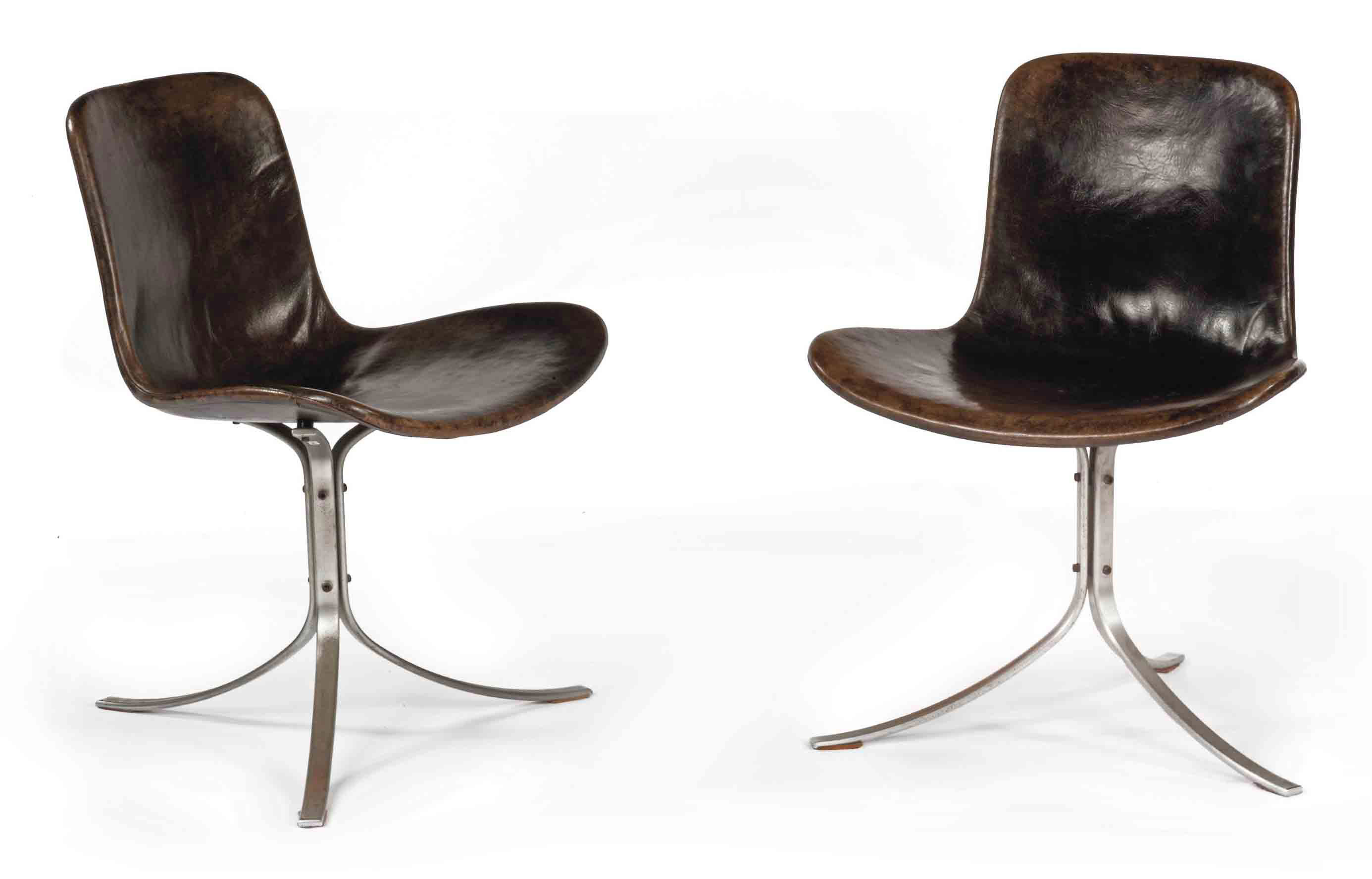 A PAIR OF CHROMED STEEL 'PK9' OR 'TULIP' SIDE CHAIRS