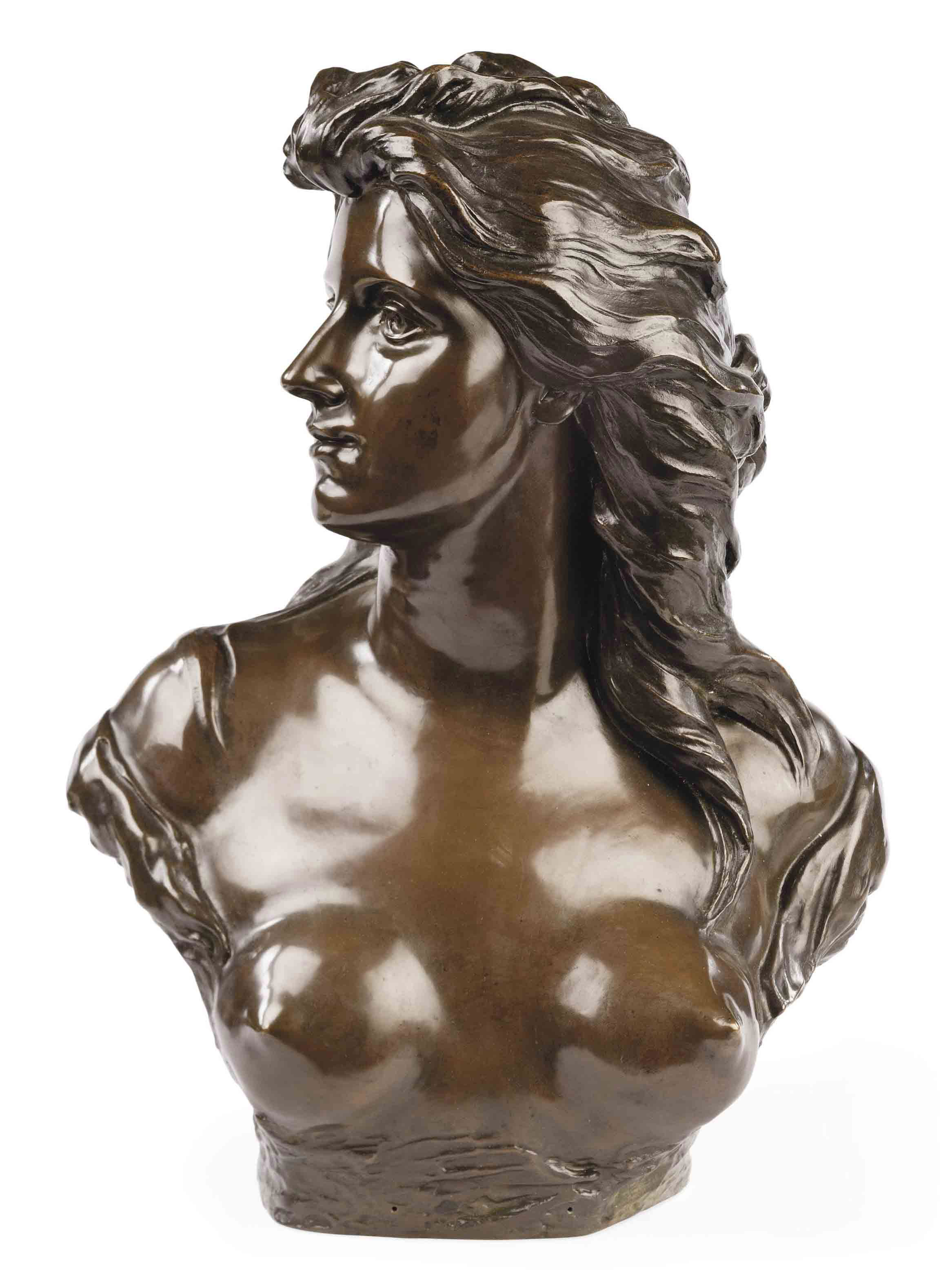 A BELGIAN BRONZE BUST OF A YOUNG WOMAN