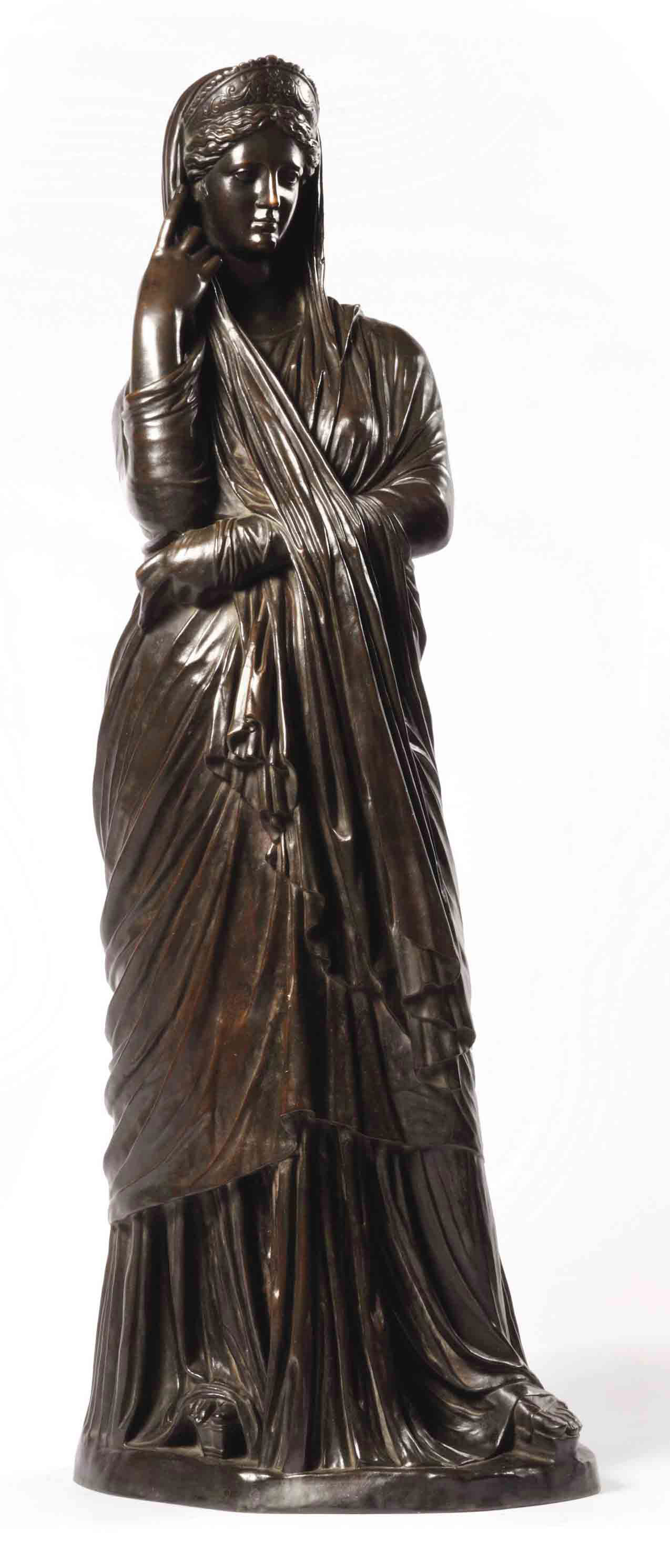 A FRENCH BRONZE FIGURE OF A CLASSICAL MAIDEN