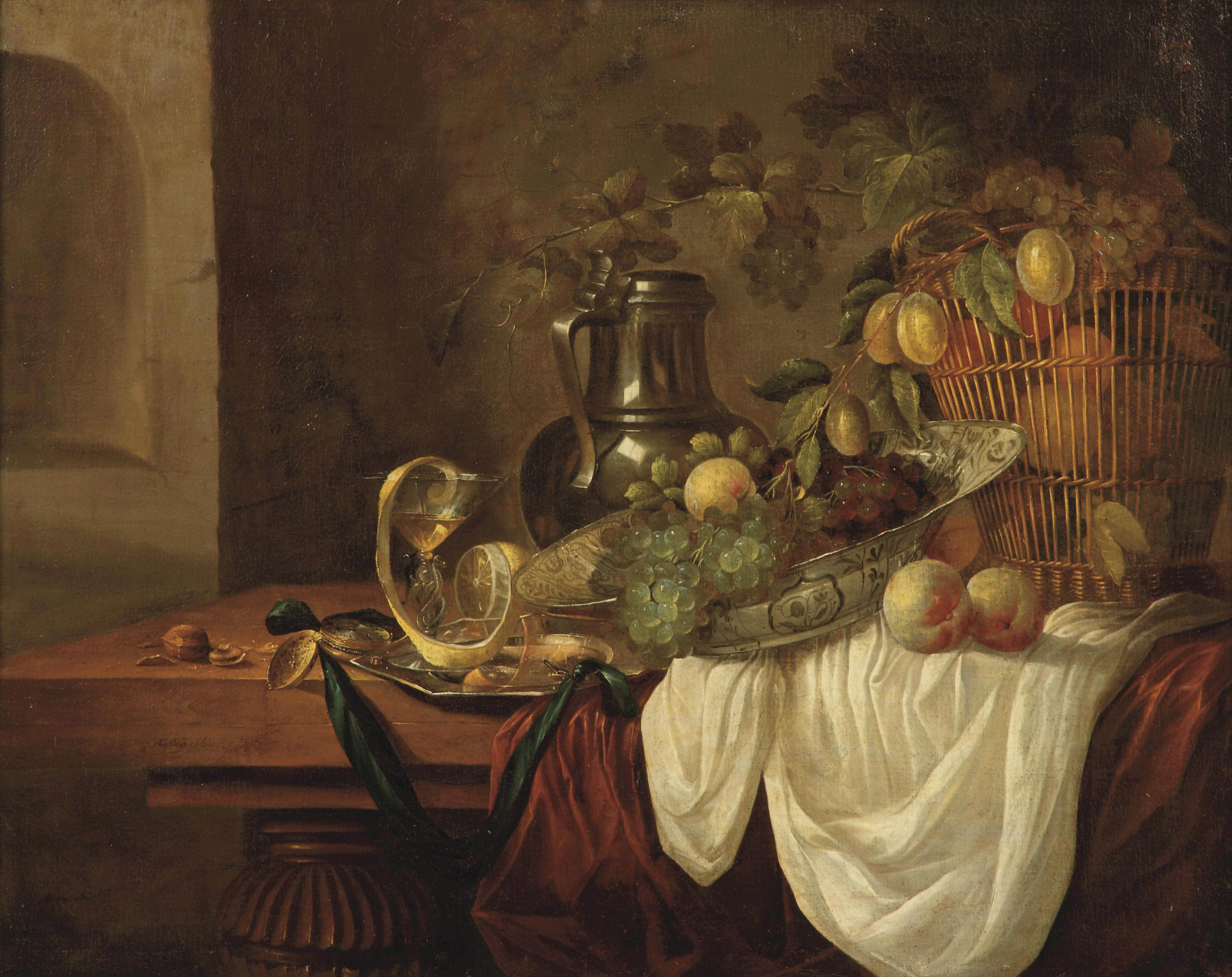 Grapes, peaches and plums in a 'wan-li kraak' porcelain dish and in a wicker basket, a pewter jug and a silver plate, all on a partially draped table in an interior