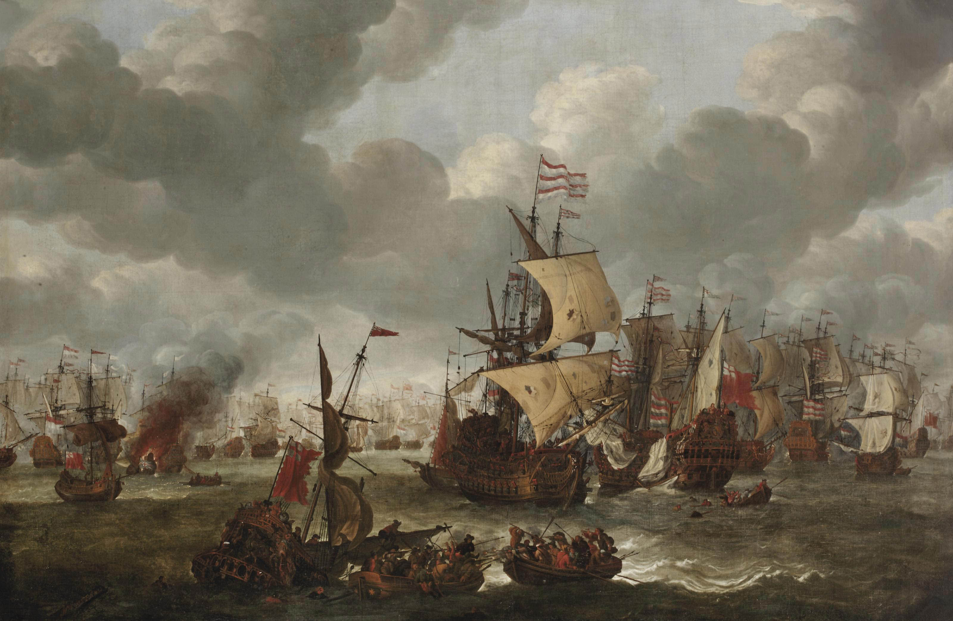 A naval engagement with Dutch and British vessels