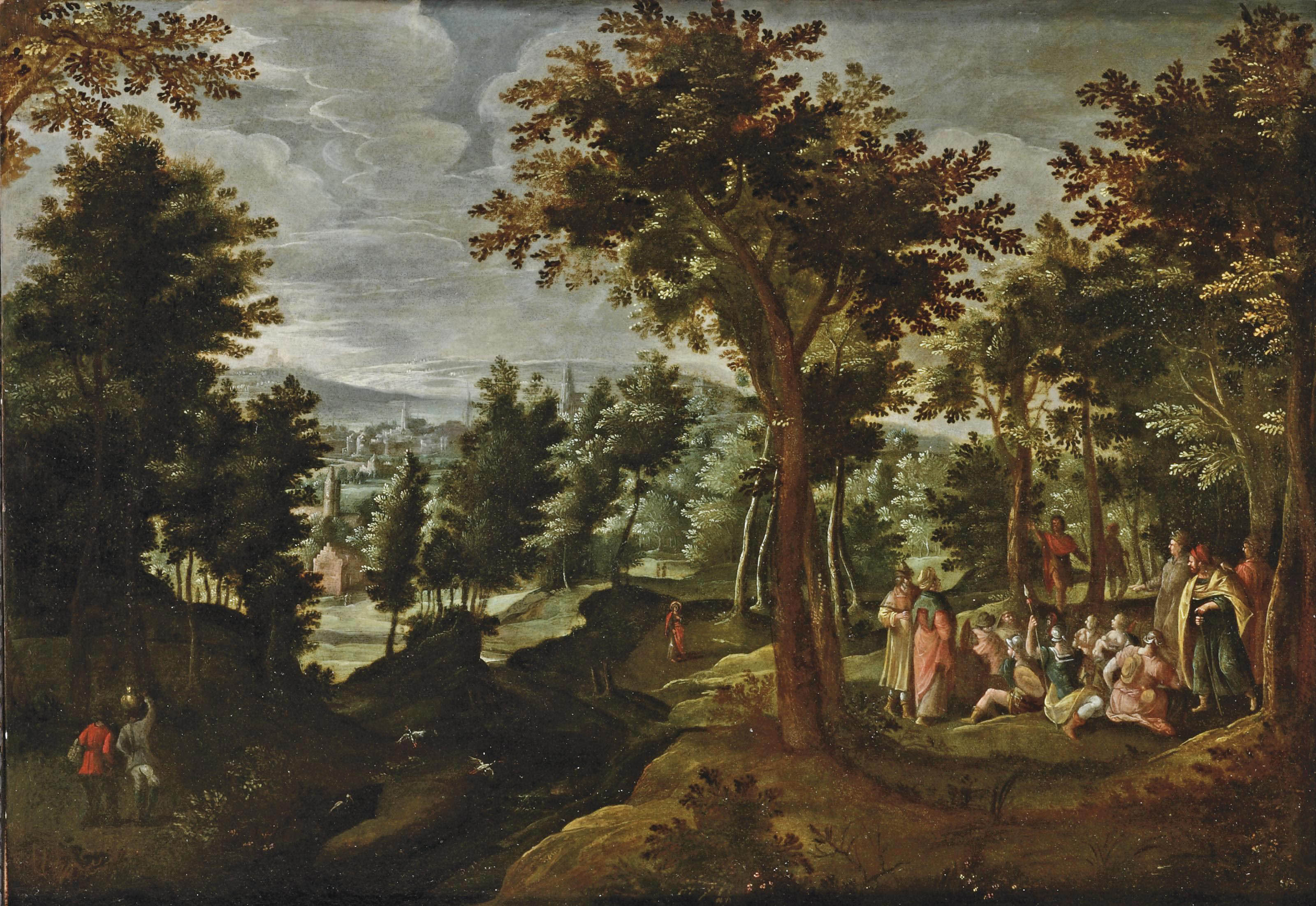 A wooded landscape with St. John the Baptist preaching