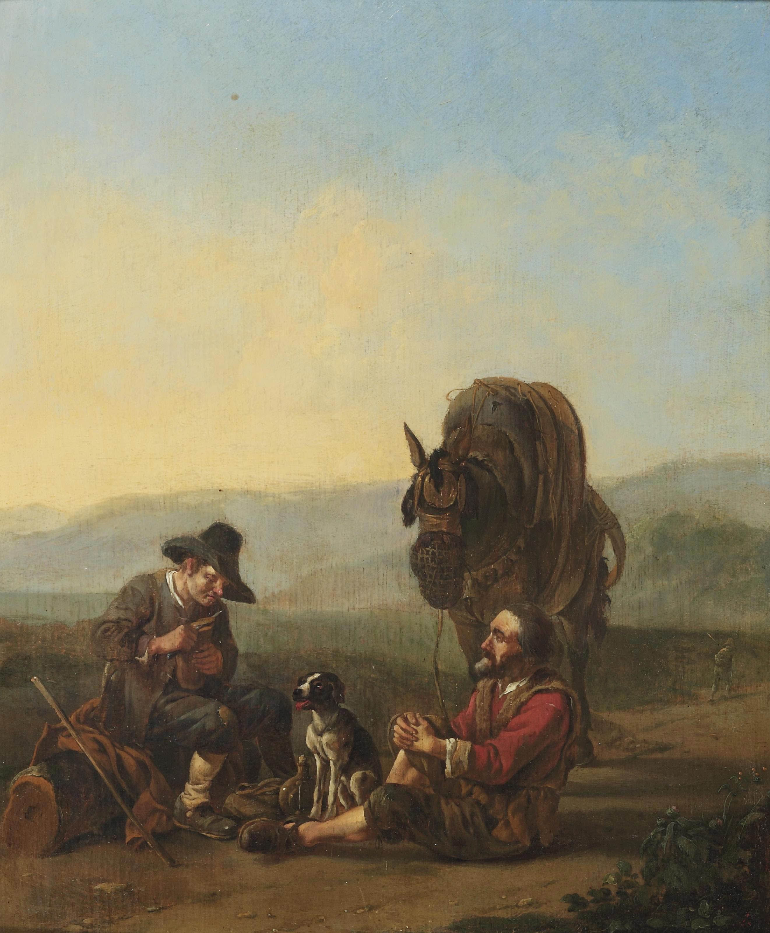 Two travellers reposing on a track in an Italianate landscape