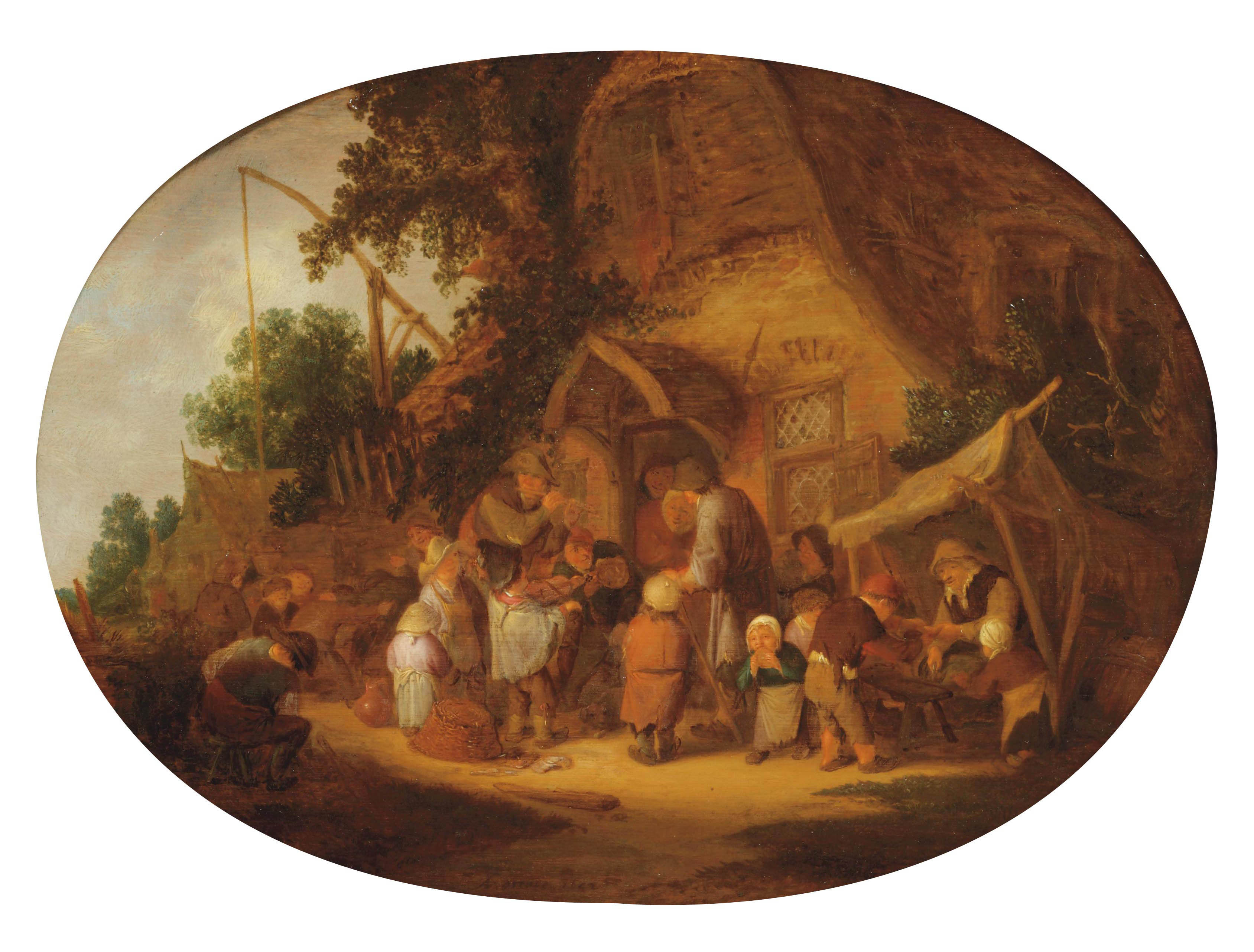 Peasants making music at a village feast