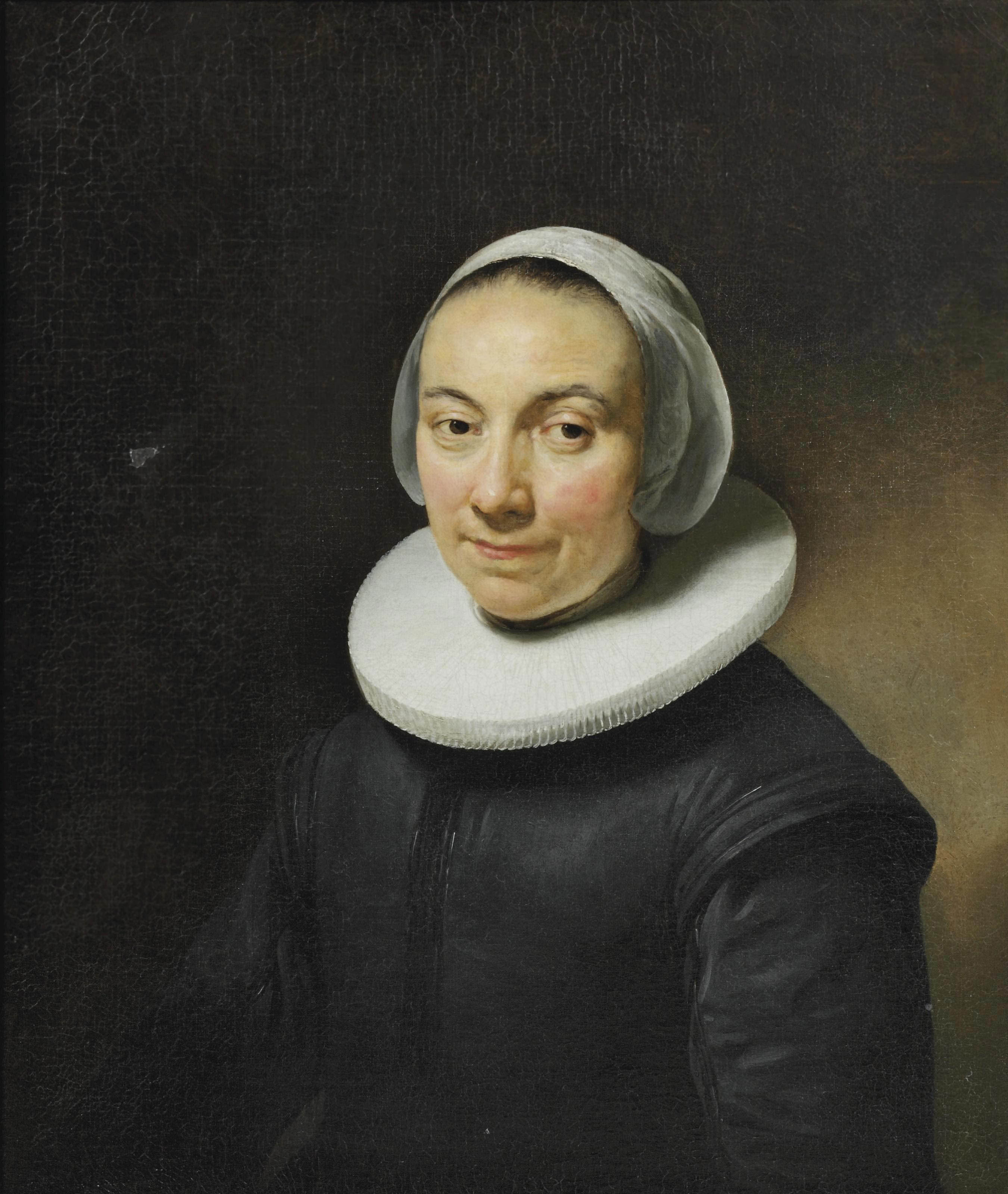 Portrait of a lady, bust-length, in a black dress with a white collar and headdress