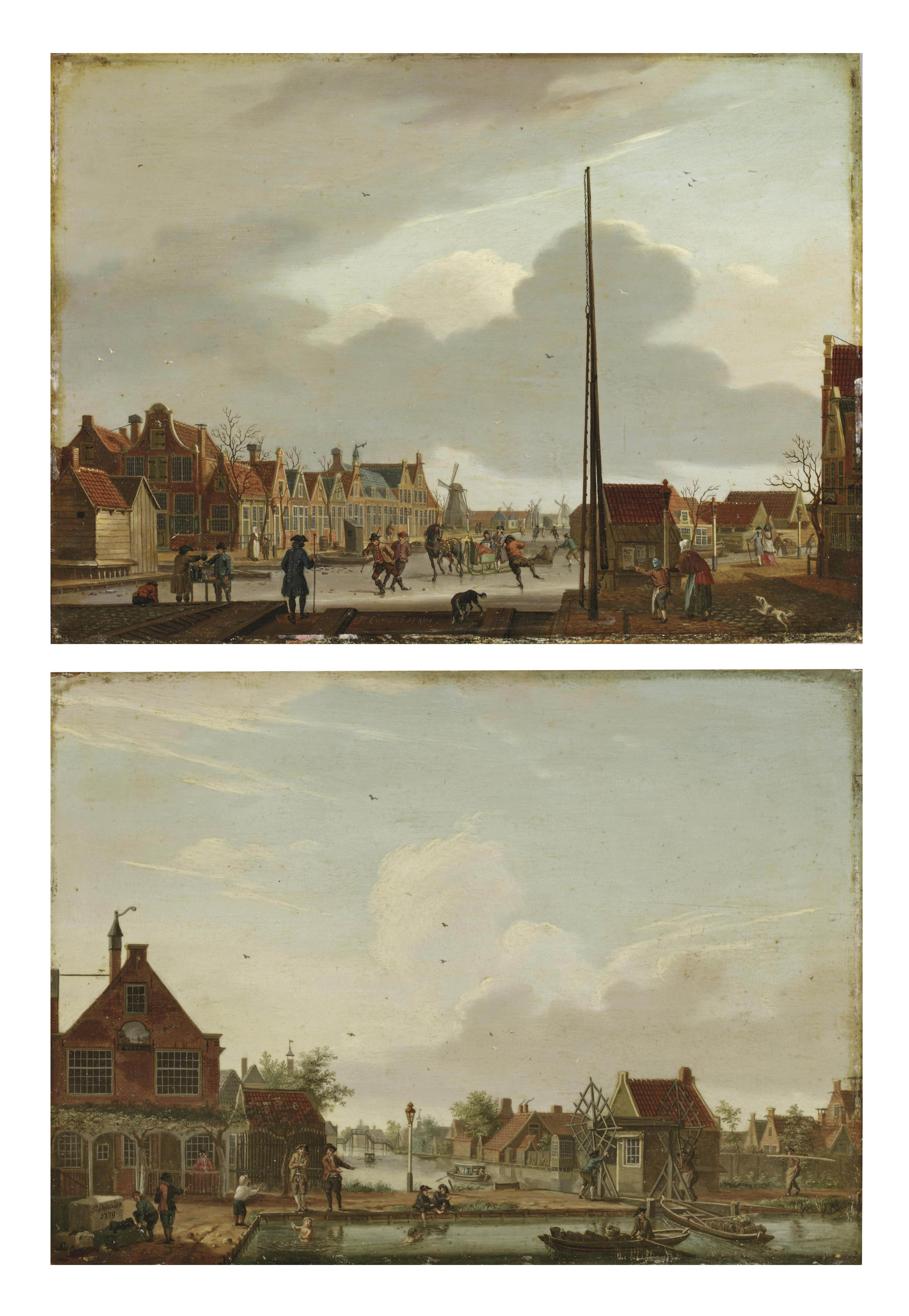 A view of the Overtoom, Amsterdam, in winter, with the Kostverloren Wetering to the left and the Overtoomse Vaart to the right; and A view of the Polderhuis by the Weteringpoort, in summer, with the slipway (overhaal) between the Boerenwetering and the Mennonietensloot to the right
