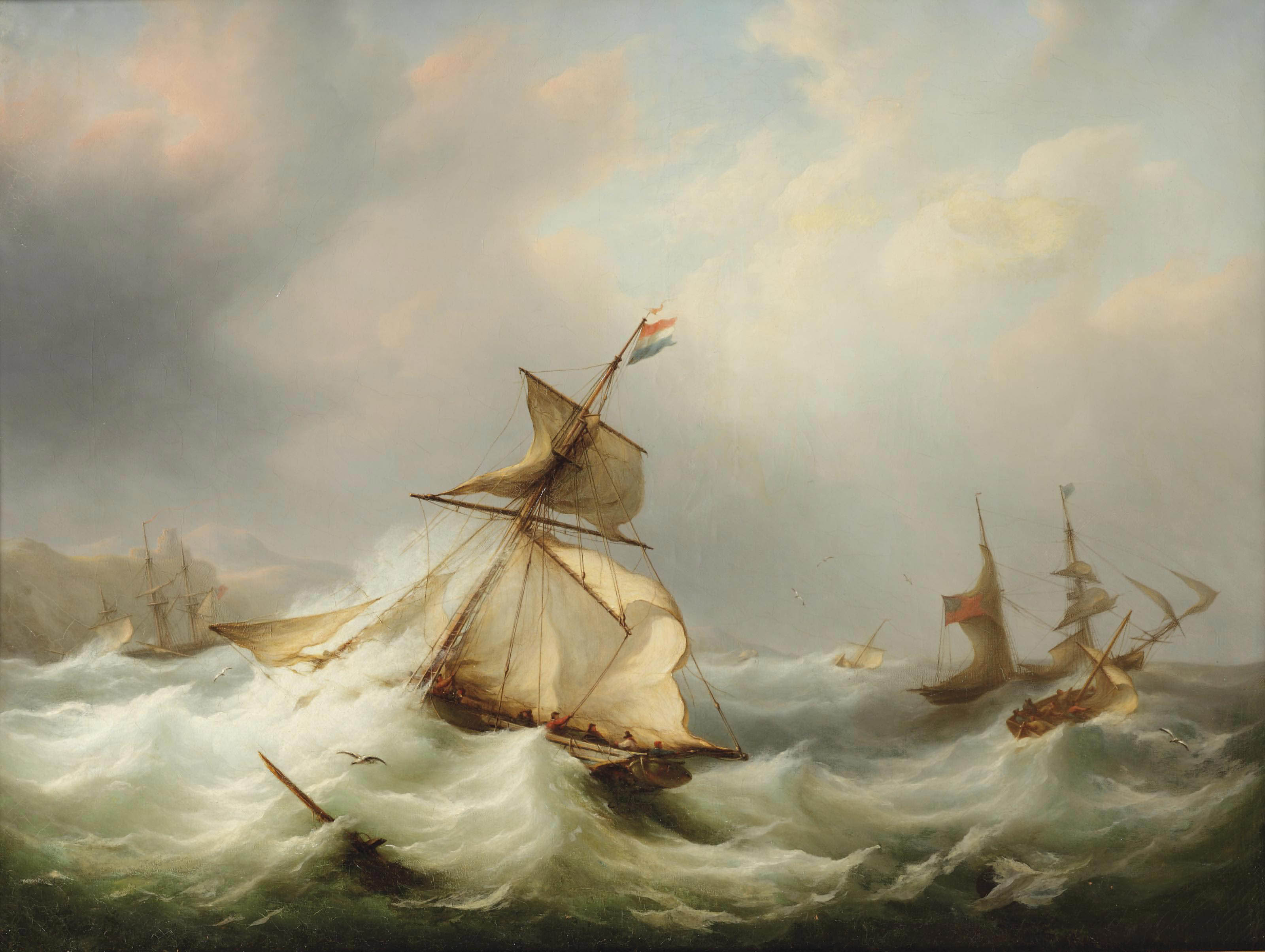 Dutch and British vessels caught in rough seas