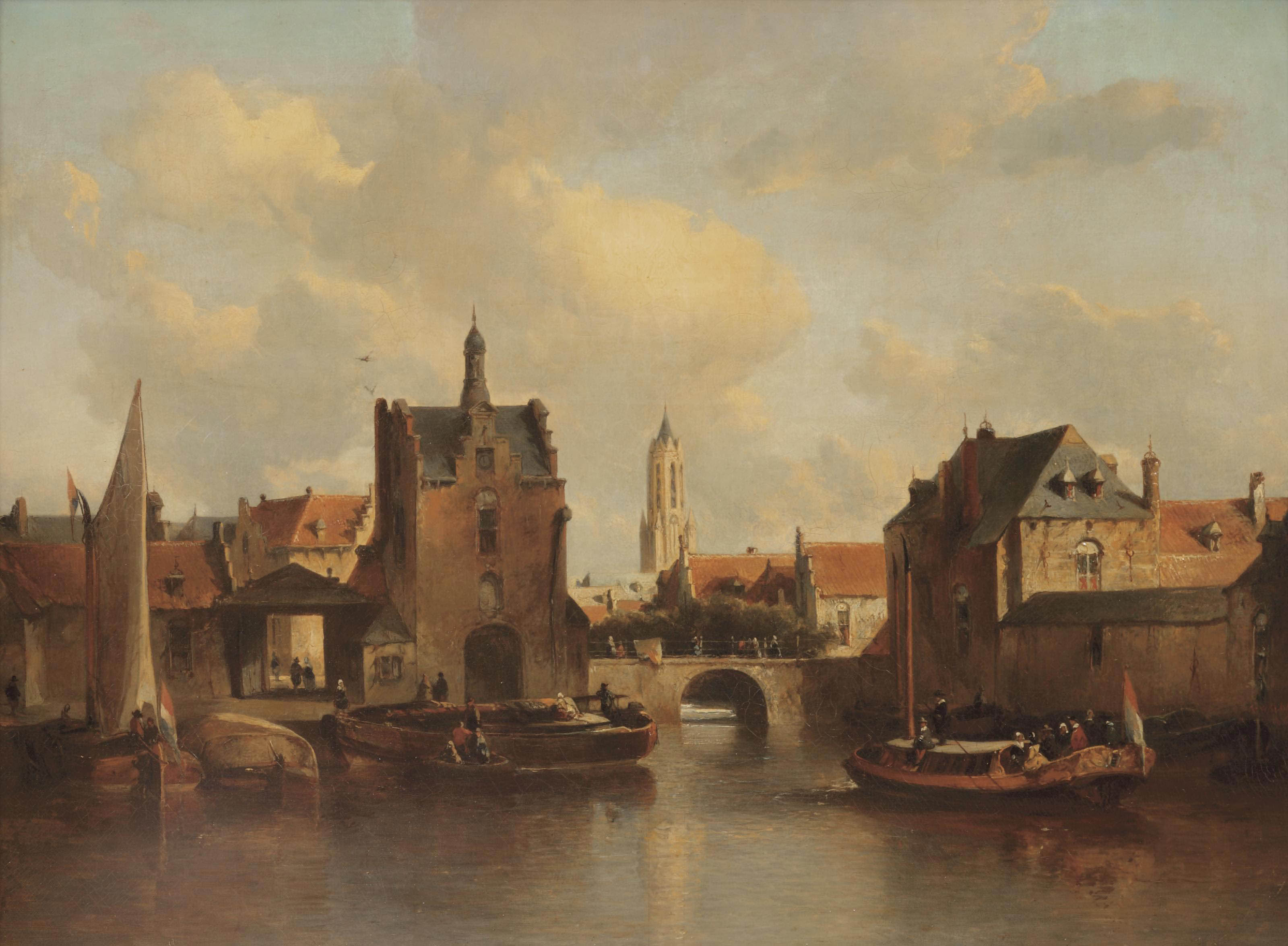 A view of Delft with the Rotterdamse poort, the Schiedamse poort and the Kethel poort