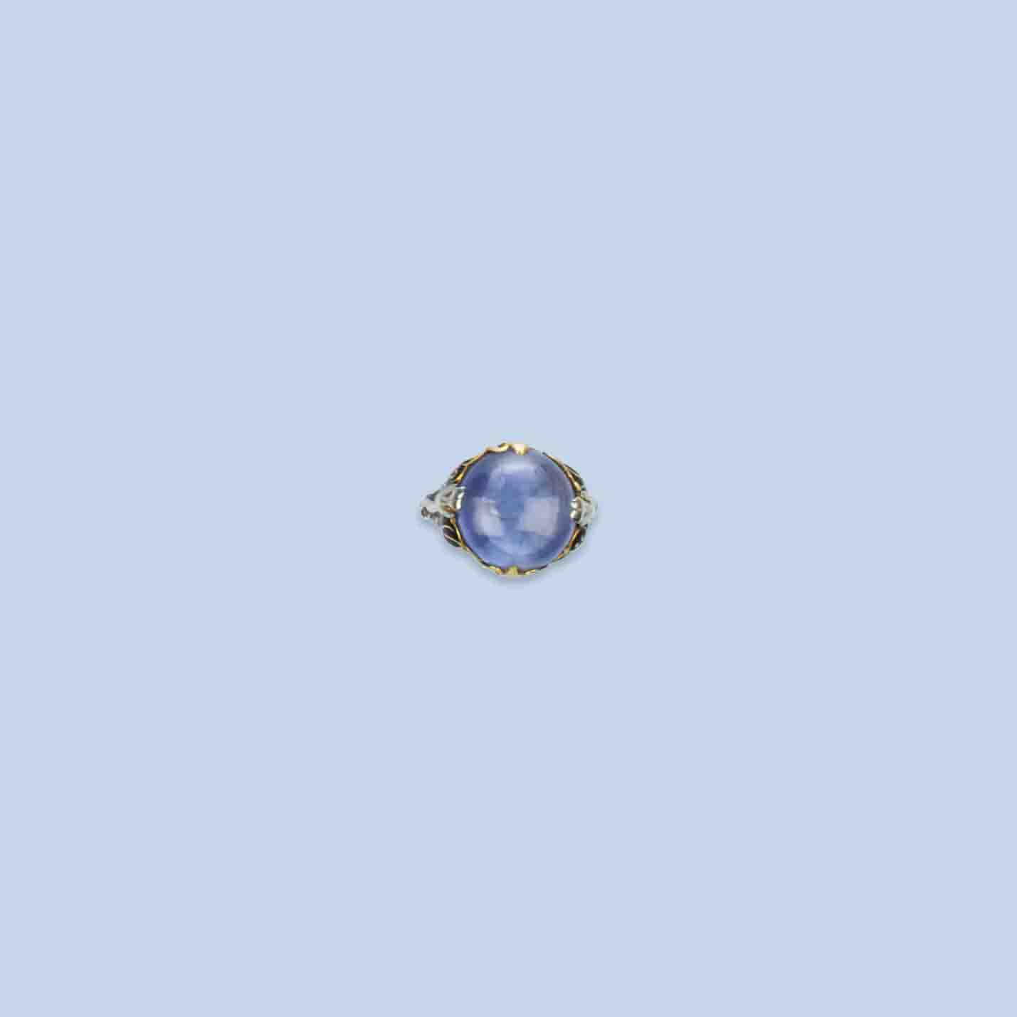 A SAPPHIRE AND ENAMEL DRESS RING