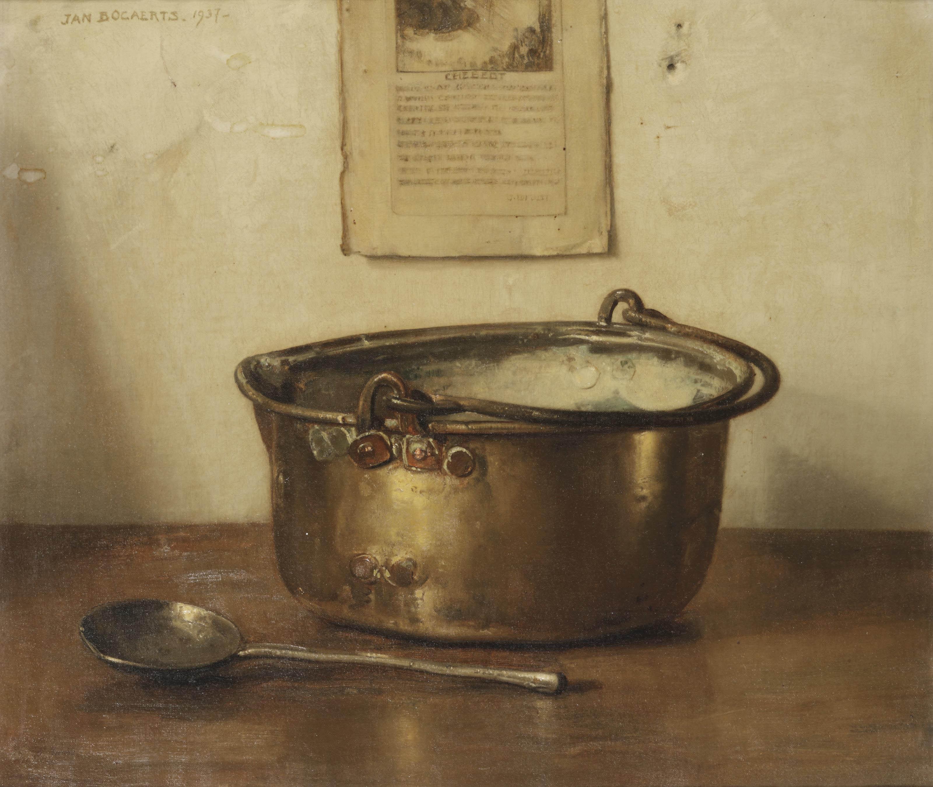 Stilleven met koperen keteltje; a still life with copper pot