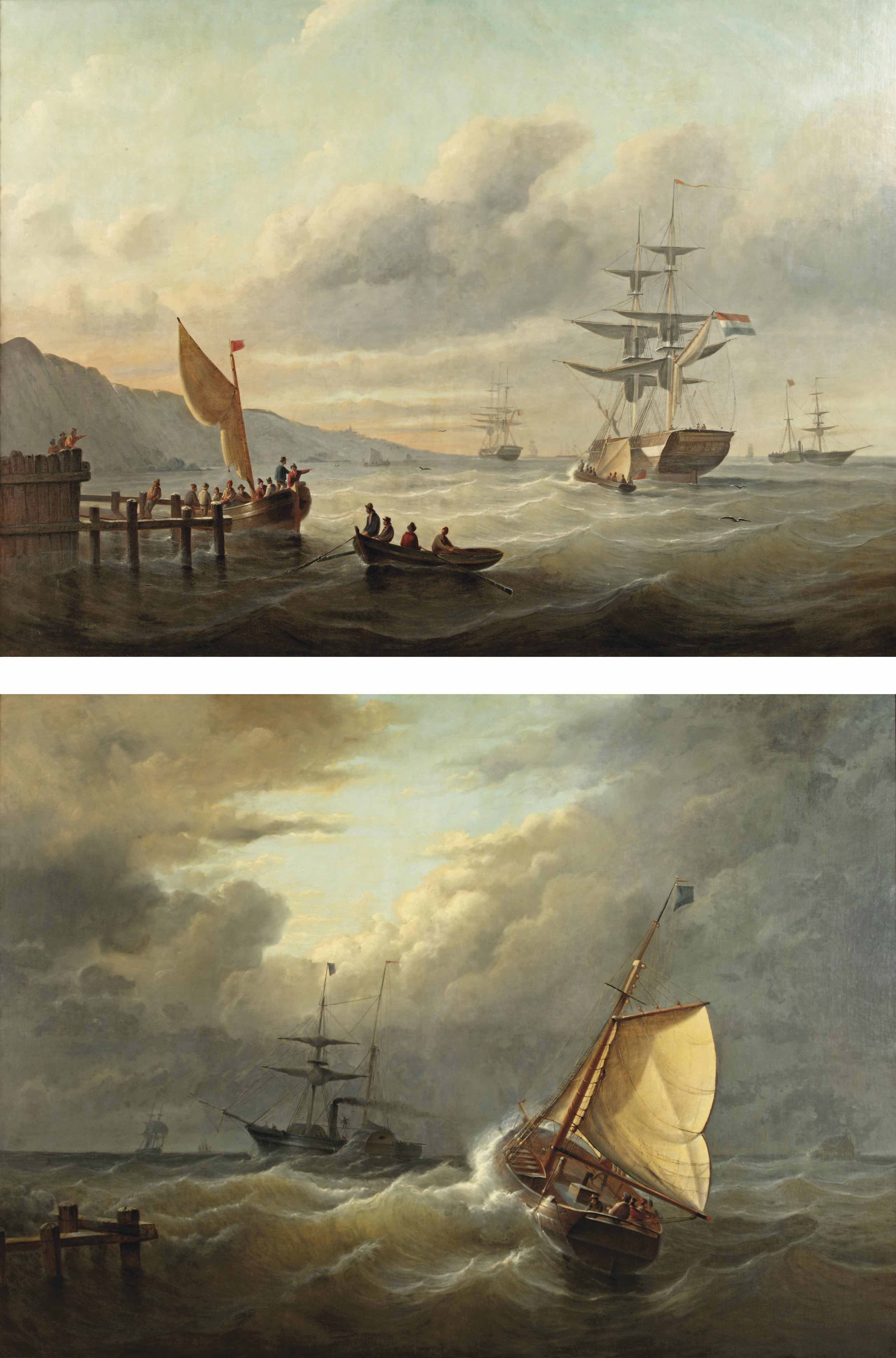 Dutch vessels in a sunlit bay; and Ships caught in rough waters