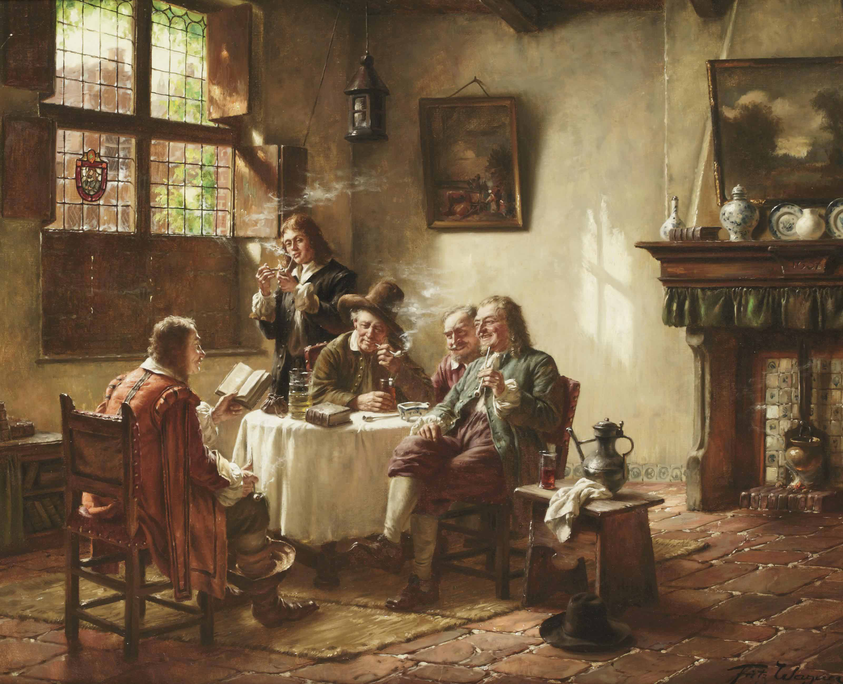 A merry company, smoking and drinking in a sunlit interior