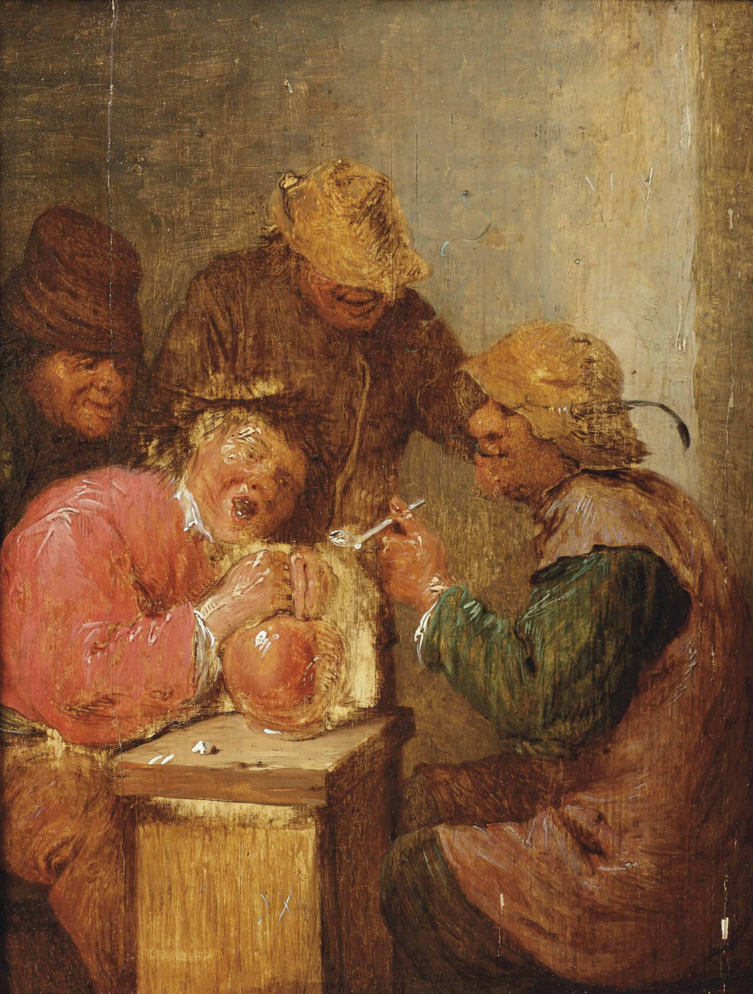 Four peasants drinking and smoking in an interior