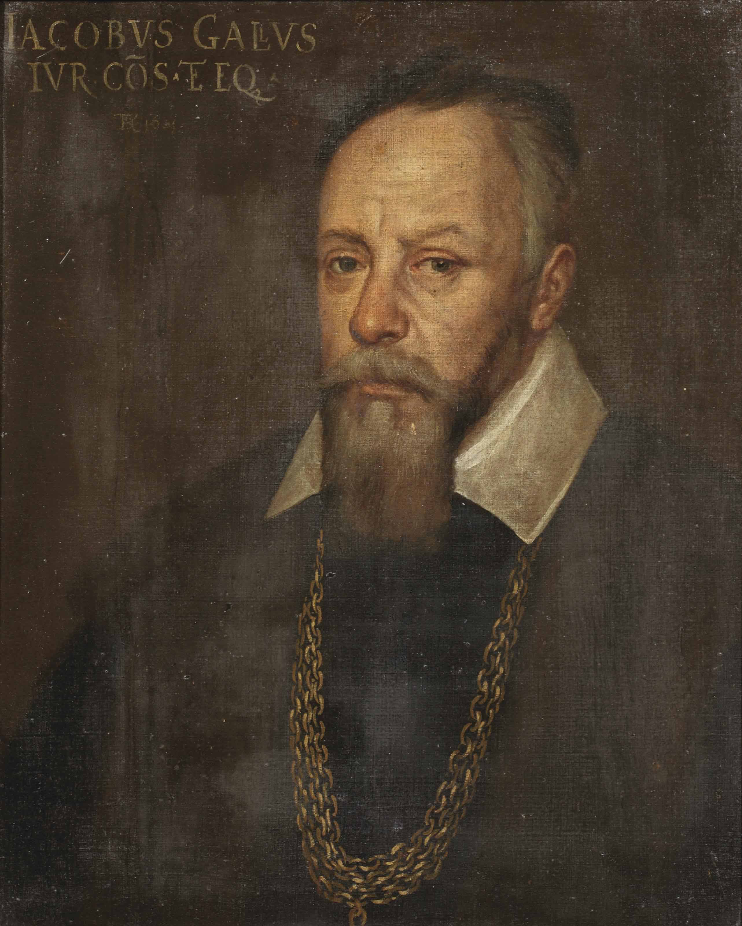 Portrait of Jacobus Gallus Neapolitanus (Naples 1552-1618 Padua), half-length, in a black costume with a white collar, wearing a gold chain