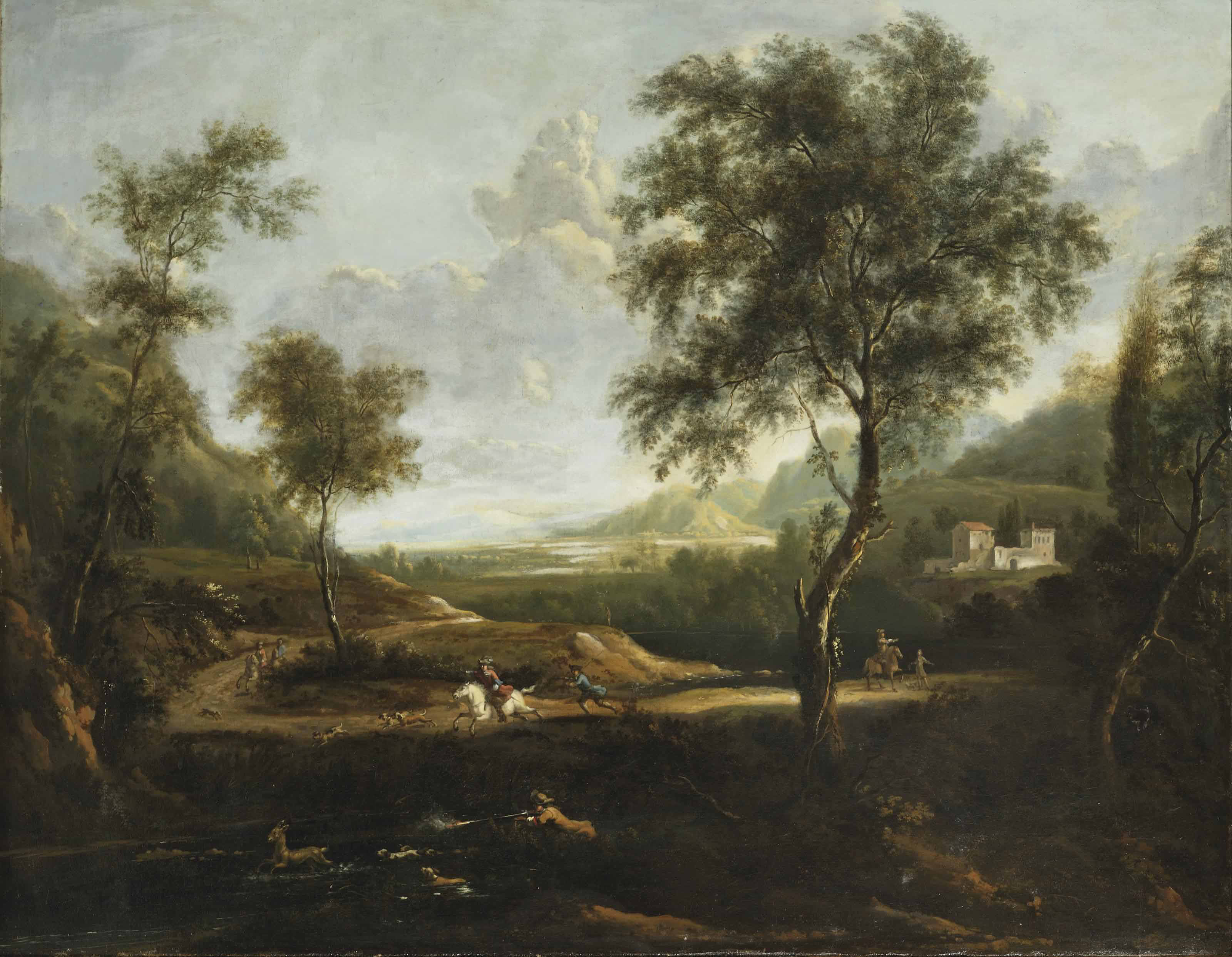 A wooded landscape with a deer hunt