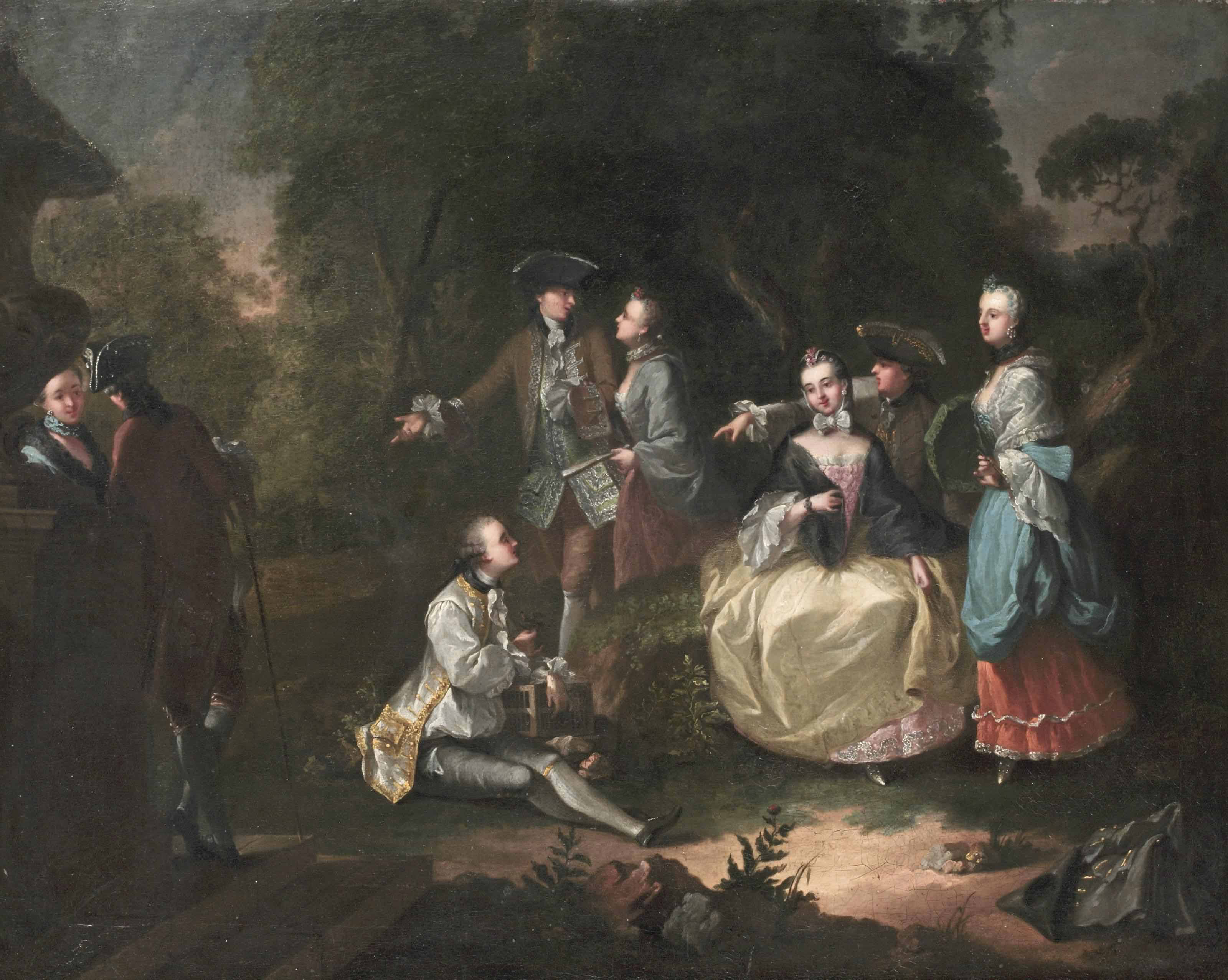An elegant company making merry in a garden landscape