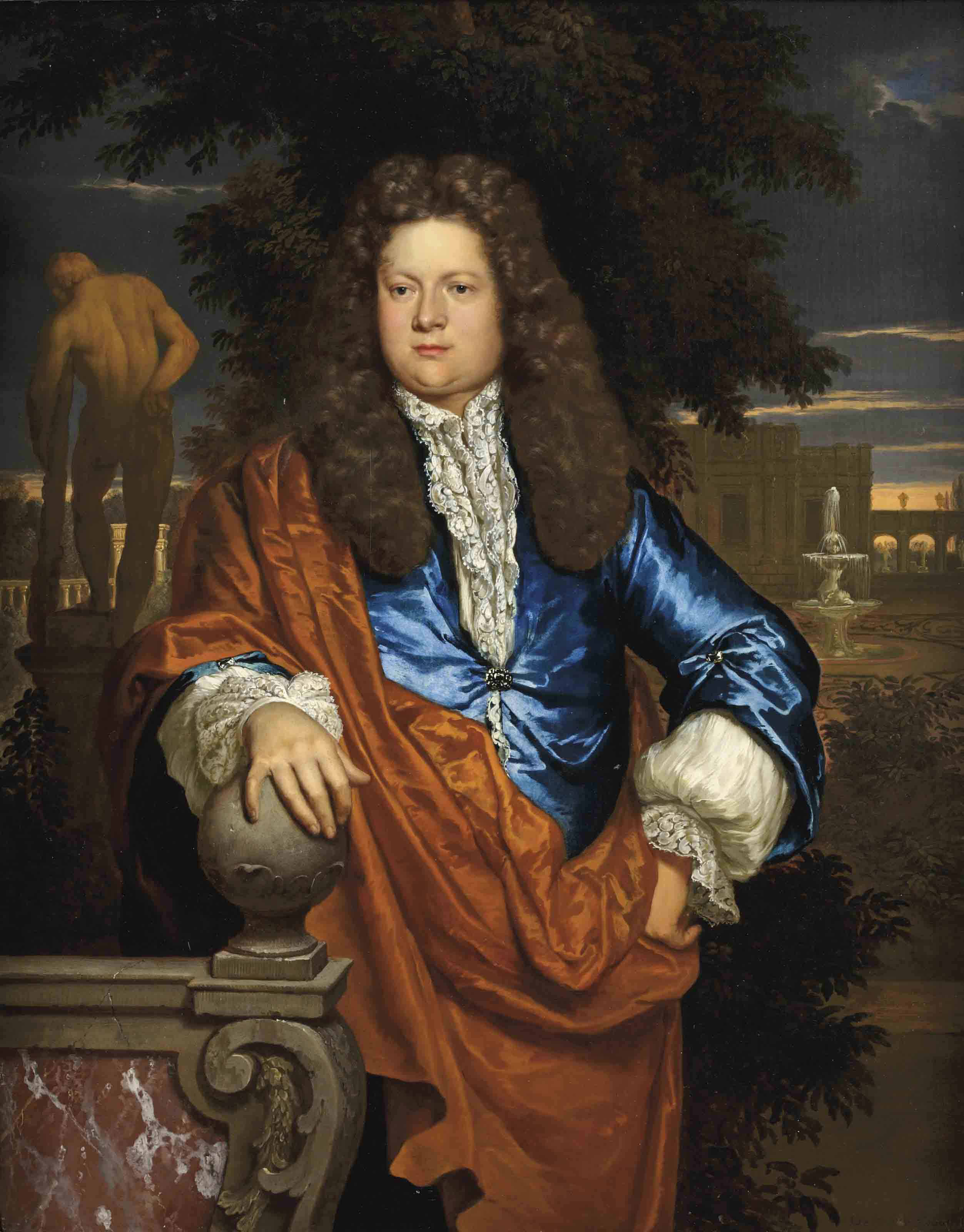 Portrait of a gentleman, three-quarter-length, in a blue velvet jacket with an ochre wrap, standing in a park landscape with the statue of the Farnese Hercules beyond