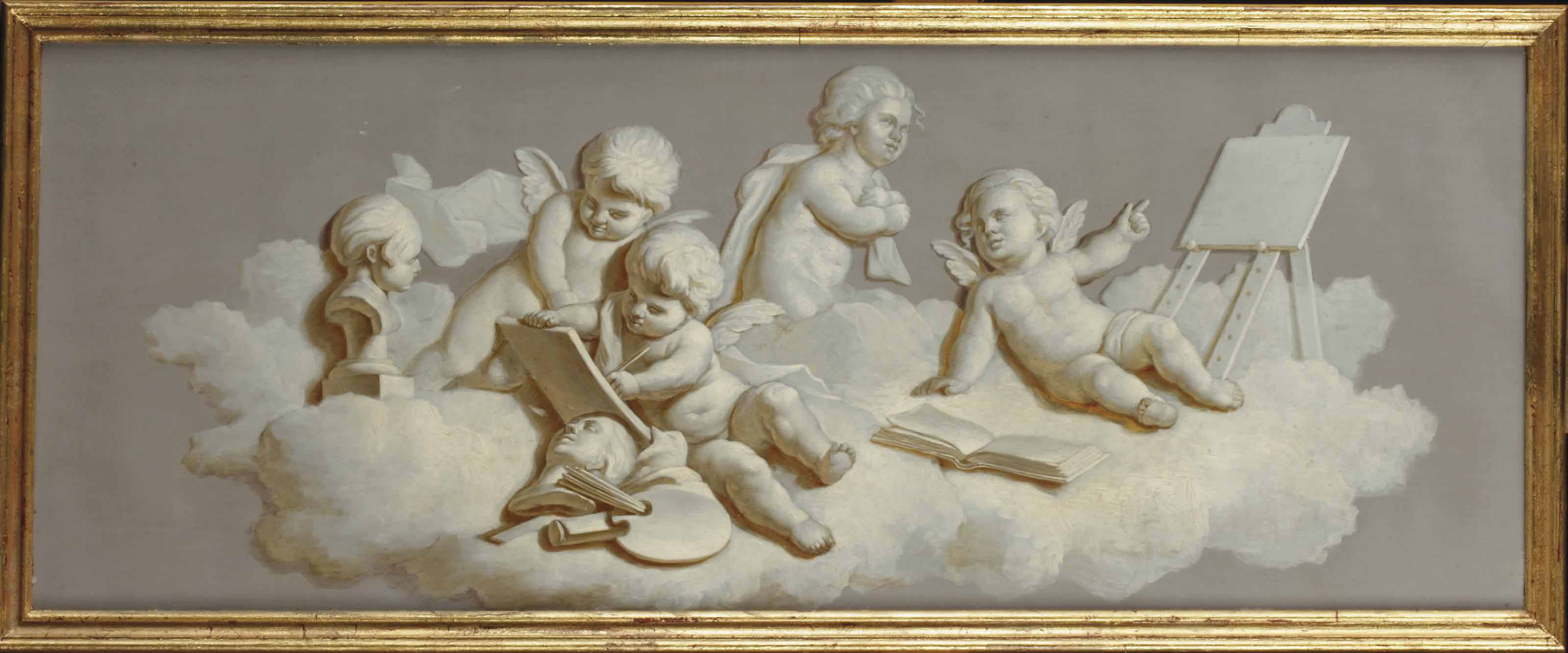 An allegory of the Liberal Arts: Putti painting and drawing, 'en grisaille'