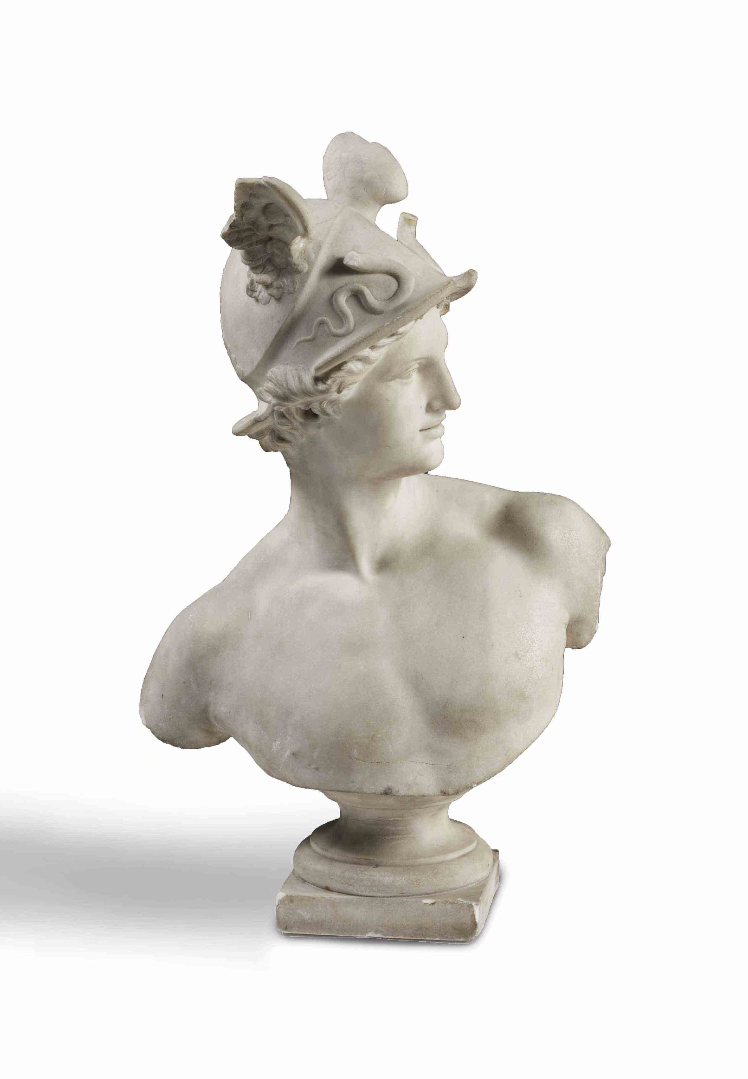 A WHITE MARBLE BUST OF HERMES