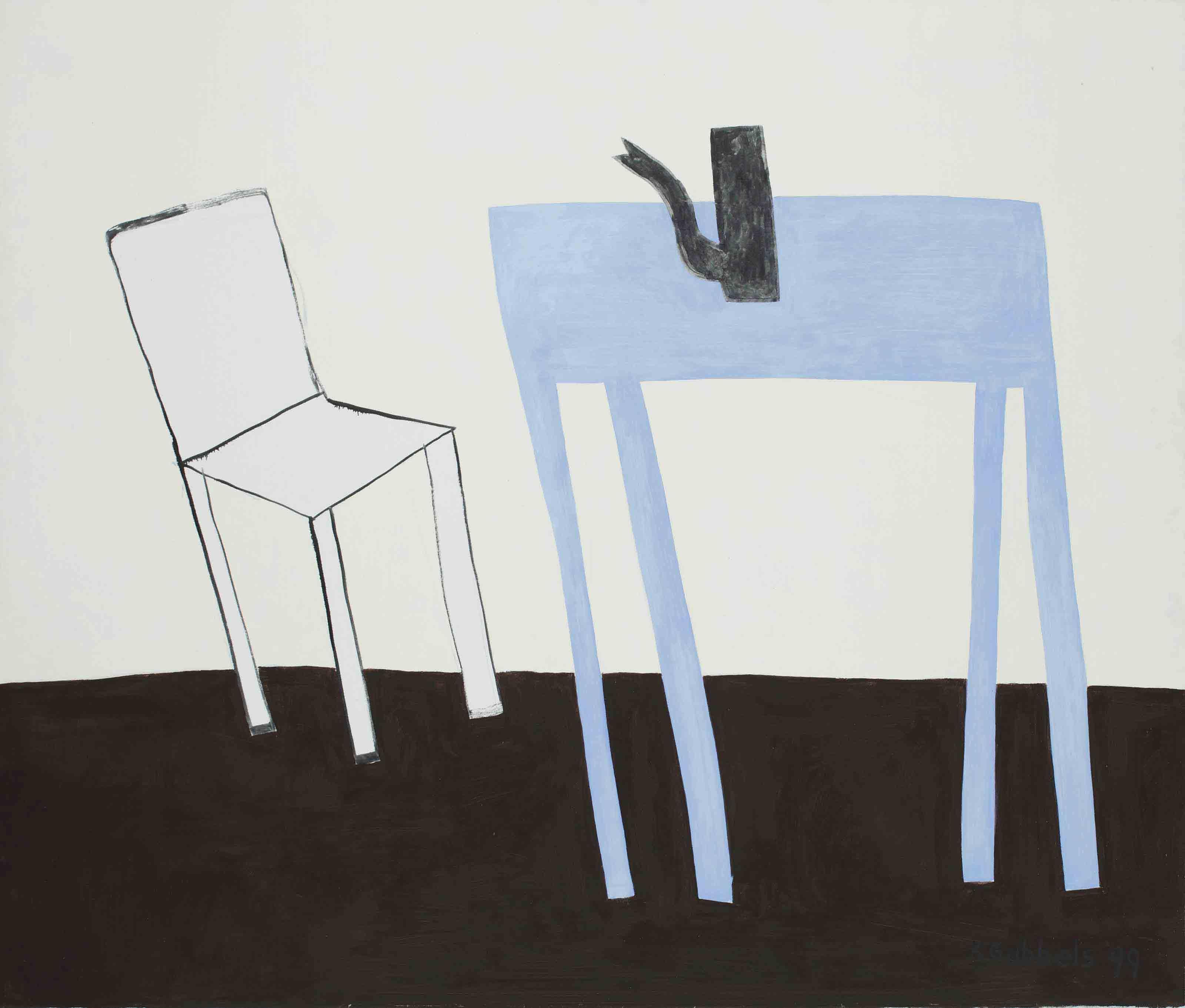 Witte stoel met blauwe tafel