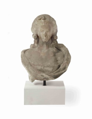 A CARVED SANDSTONE BUST OF A L