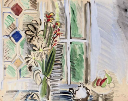 Raoul dufy 1877 1953 bouquet de fleurs devant la for Devant la fenetre