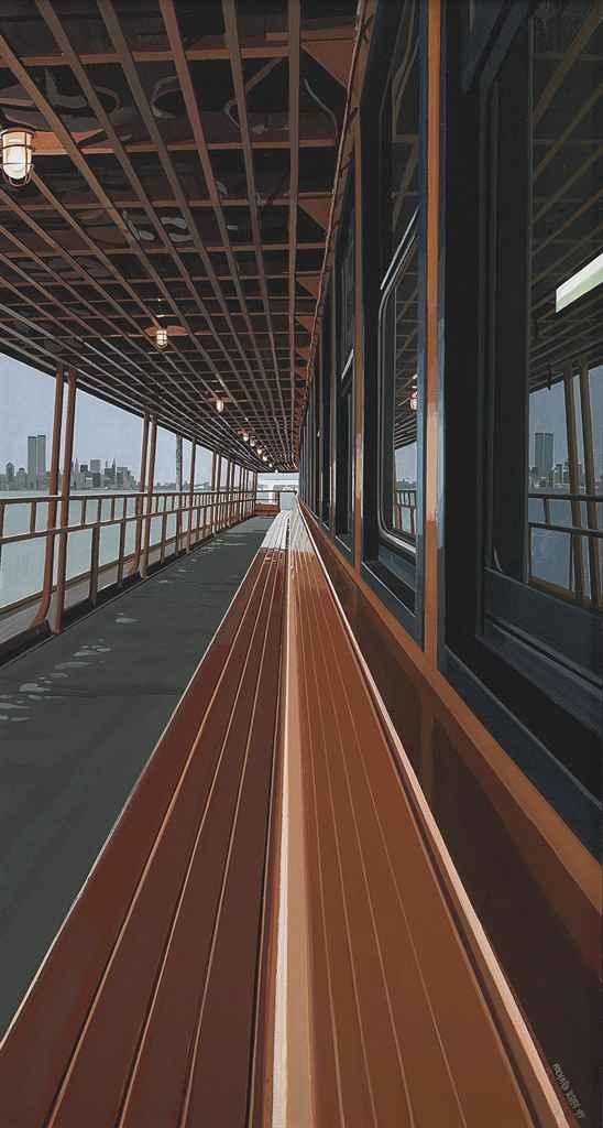 Deck of Staten Island Ferry with View of Manhattan