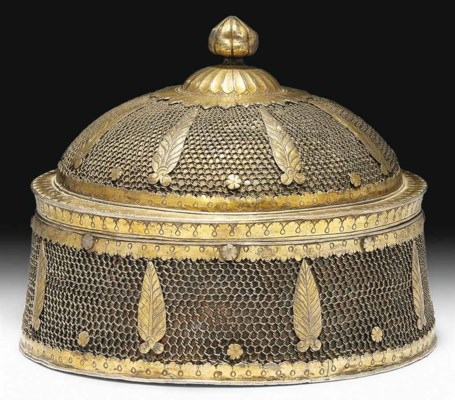 A SILVER WIRE AND GILT PANDAN
