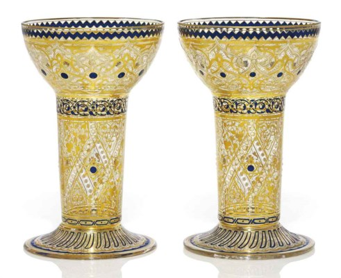 A PAIR OF ENAMELLED LOBMEYR BE