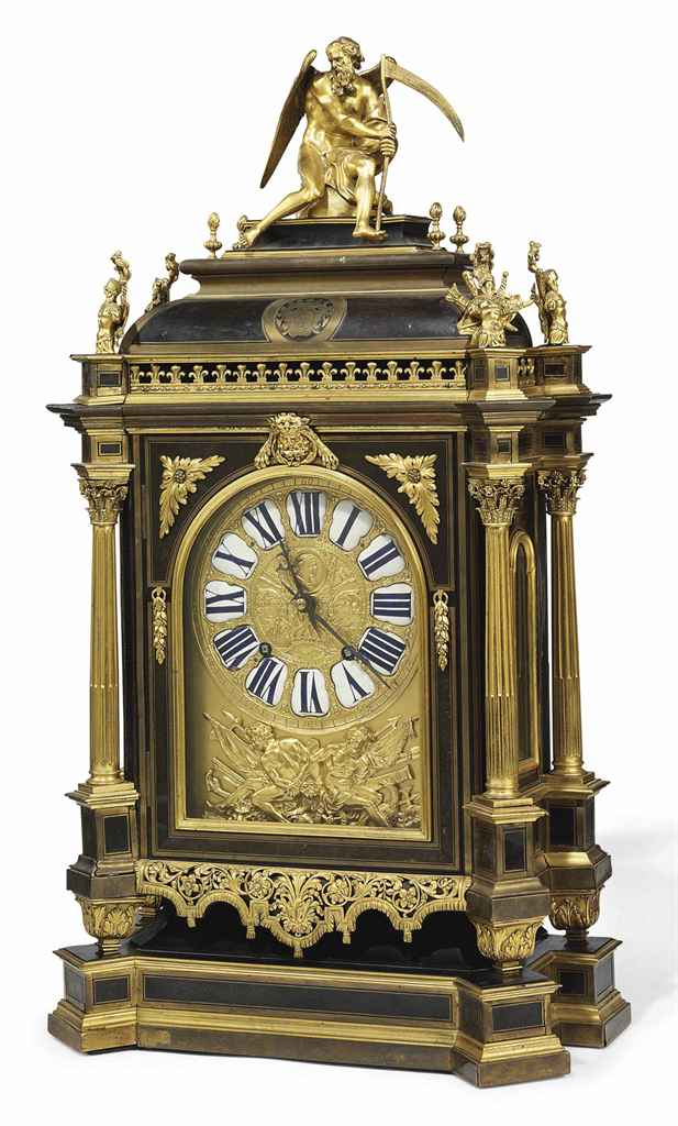 A FRENCH ORMOLU-MOUNTED CUT BRASS-INLAID TORTOISESHELL AND EBONY 'BOULLE' BRACKET CLOCK