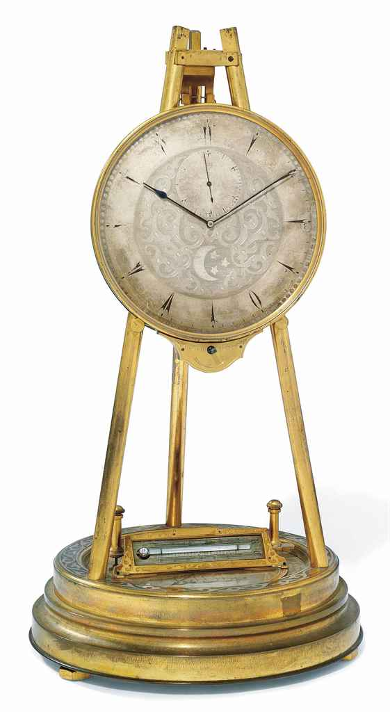 A VICTORIAN ENGRAVED GILT-BRASS TRIPOD MANTEL REGULATOR WITH INTEGRAL BAROMETER AND THERMOMETER, FOR THE TURKISH MARKET