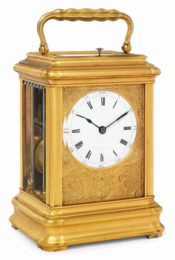 A FRENCH GIANT GILT-BRASS STRIKING AND REPEATING CARRIAGE CLOCK