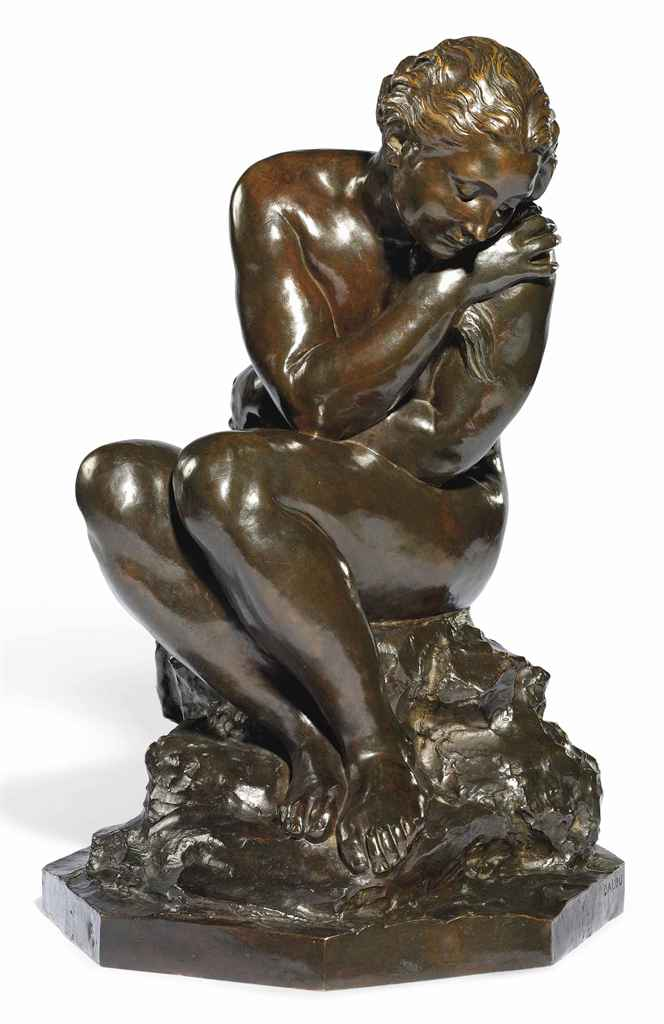 A FRENCH BRONZE STUDY ENTITLED 'BAIGNEUSE AVANT LE BAIN'