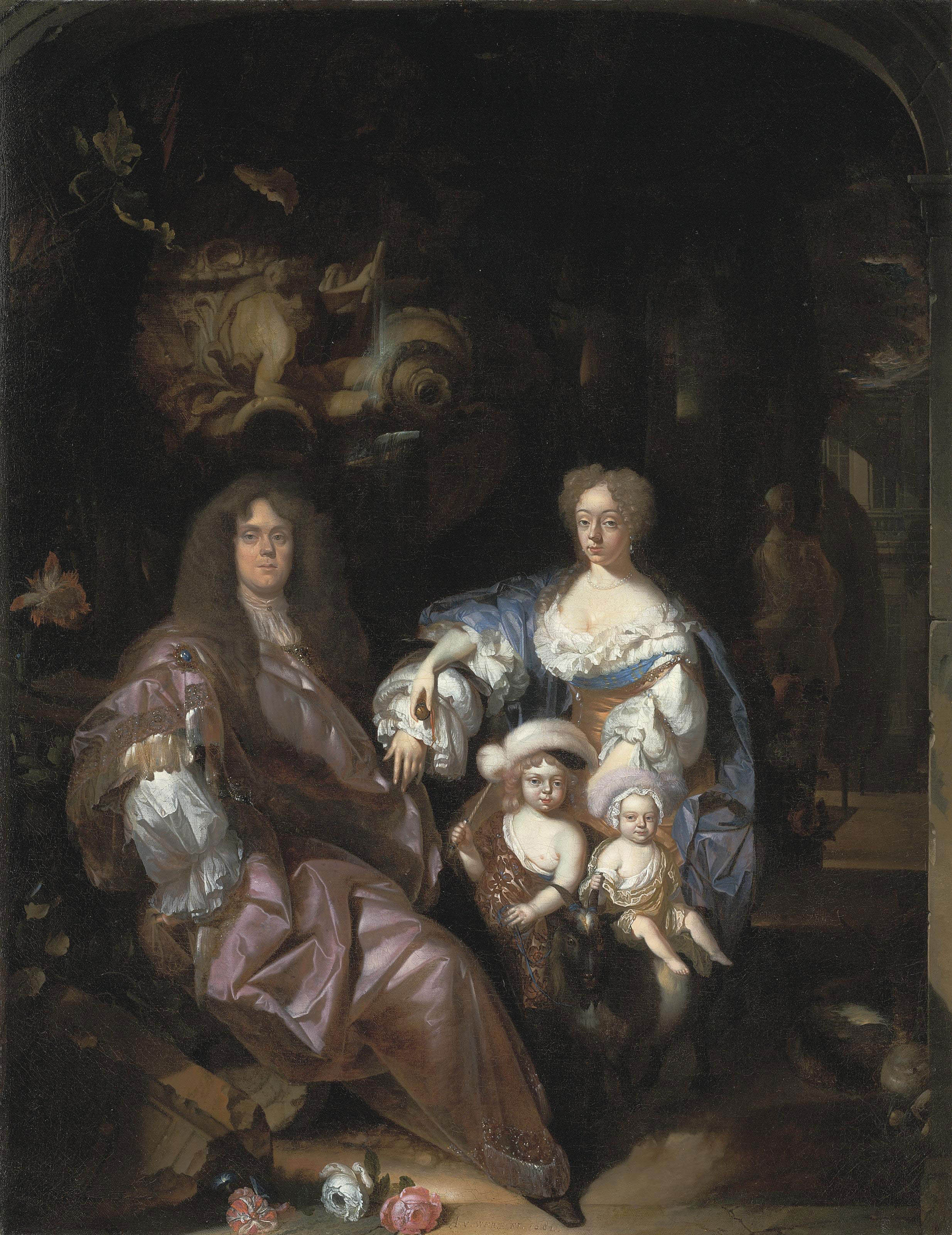 Group portrait of a family in a garden, by a classical fountain