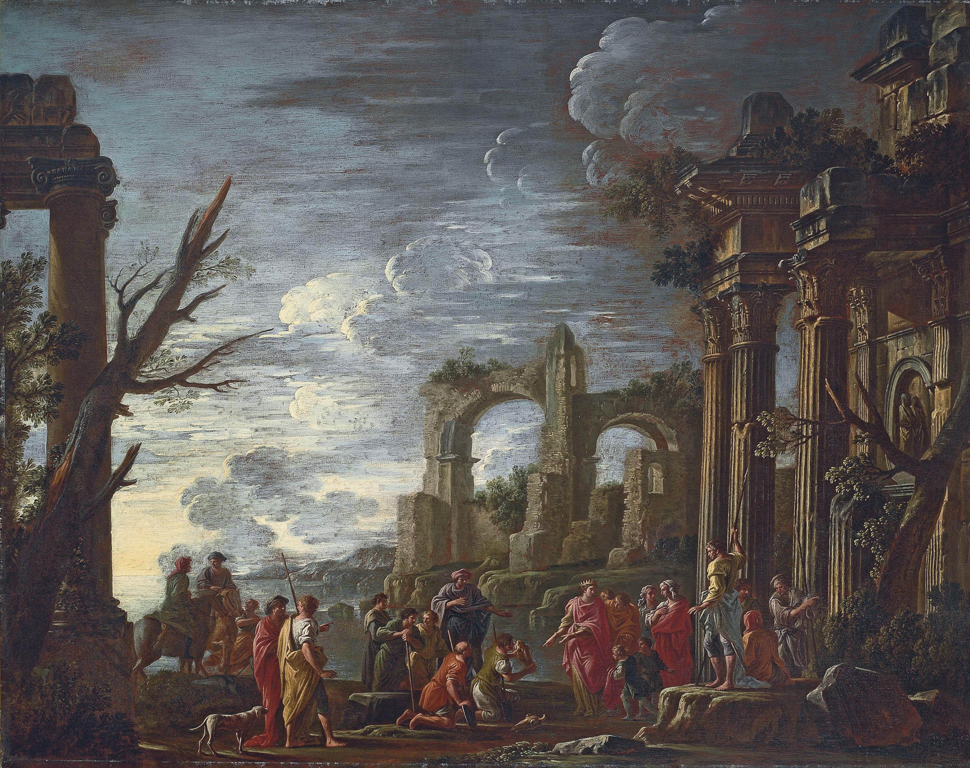 A capriccio landscape with a king and other figures amidst classical ruins